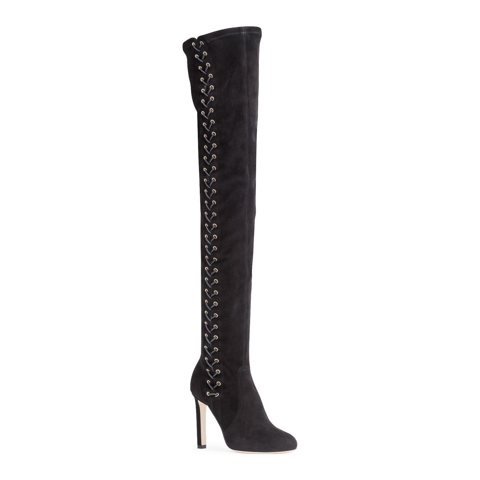 020dd3a5bee Jimmy Choo Marie 100 Black Suede Over The Knee Boots in Black - Lyst