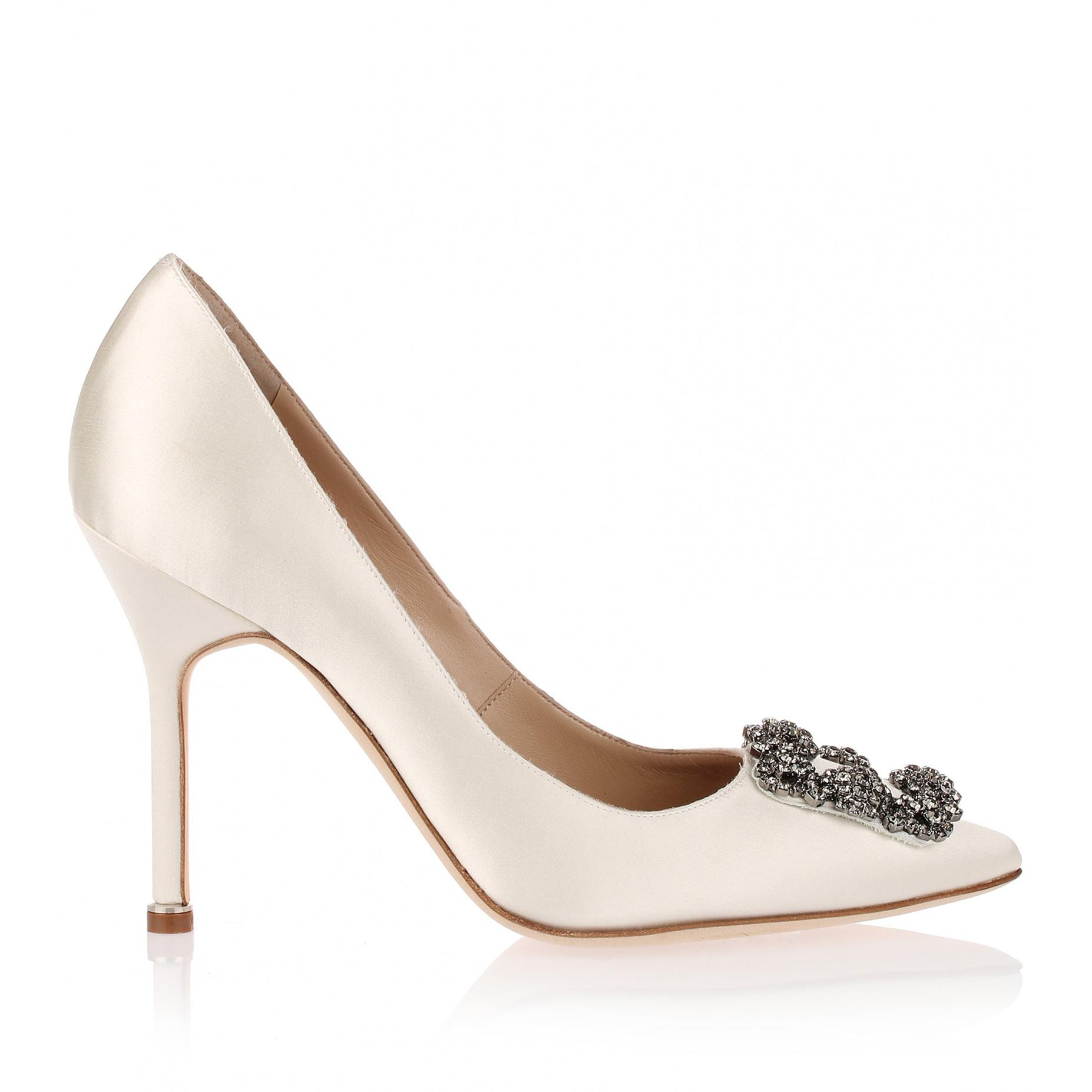 56b82d3fd70d coupon manolo blahnik hangisi 105mm satin pumps 0c979 0c284  closeout manolo  blahnik white hangisi satin pump ivory us lyst. view fullscreen aa566 9527d