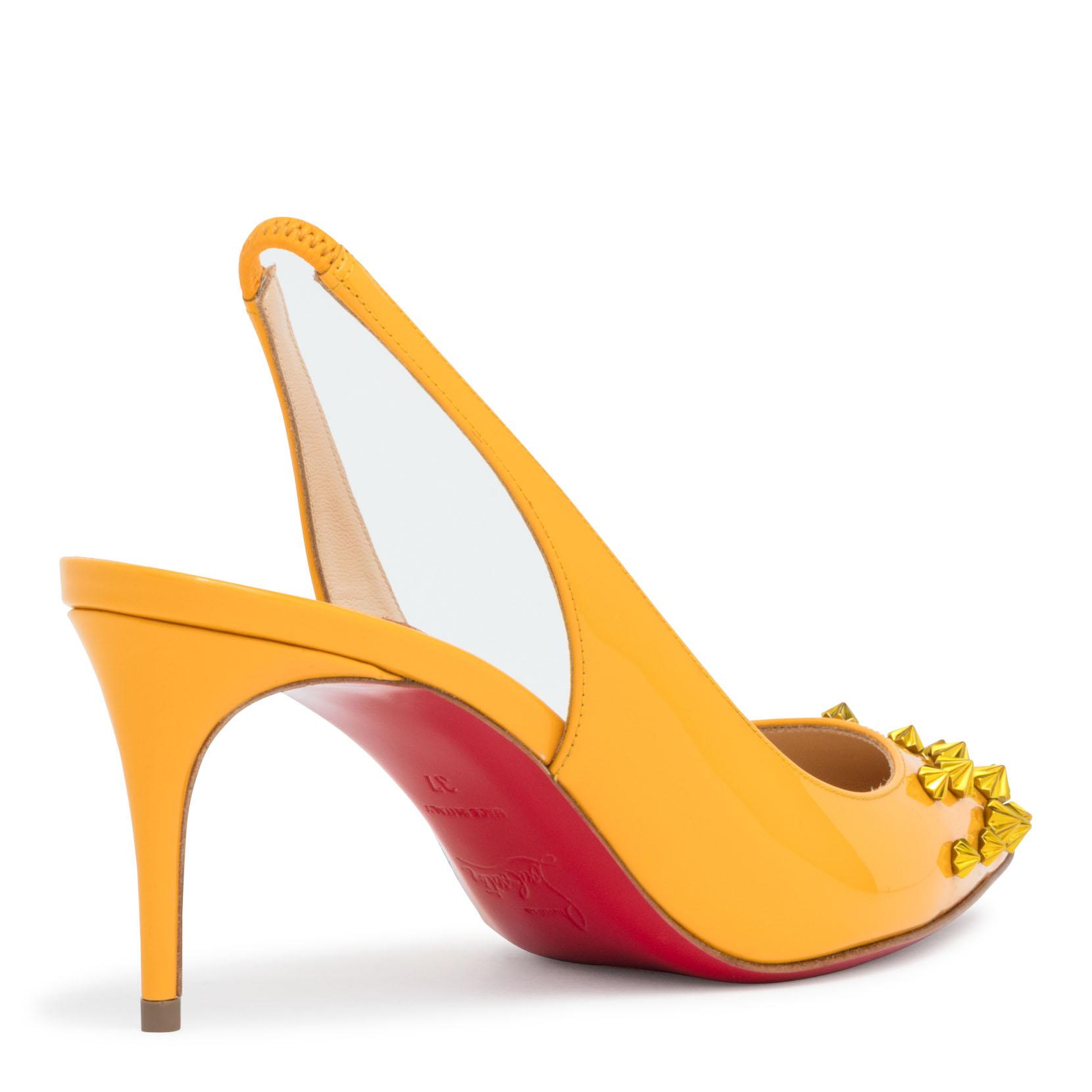 Drama 70 Yellow Patent Leather Slingback Stud Pumps Christian Louboutin yH9oaZ