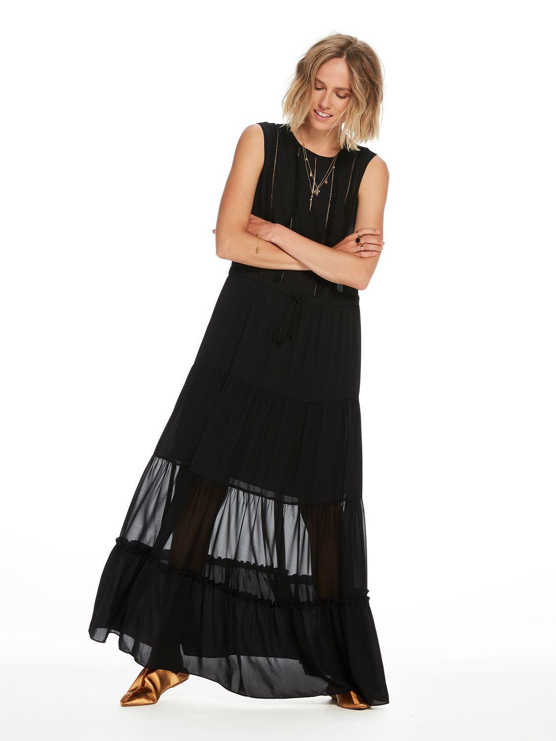 Buy Cheap Many Kinds Of With Credit Card For Sale Womens Sleeveless Silky Feel Maxi Sheer Inserts and Ruff Dress Scotch & Soda Sast Cheap Price OS6qIGbx