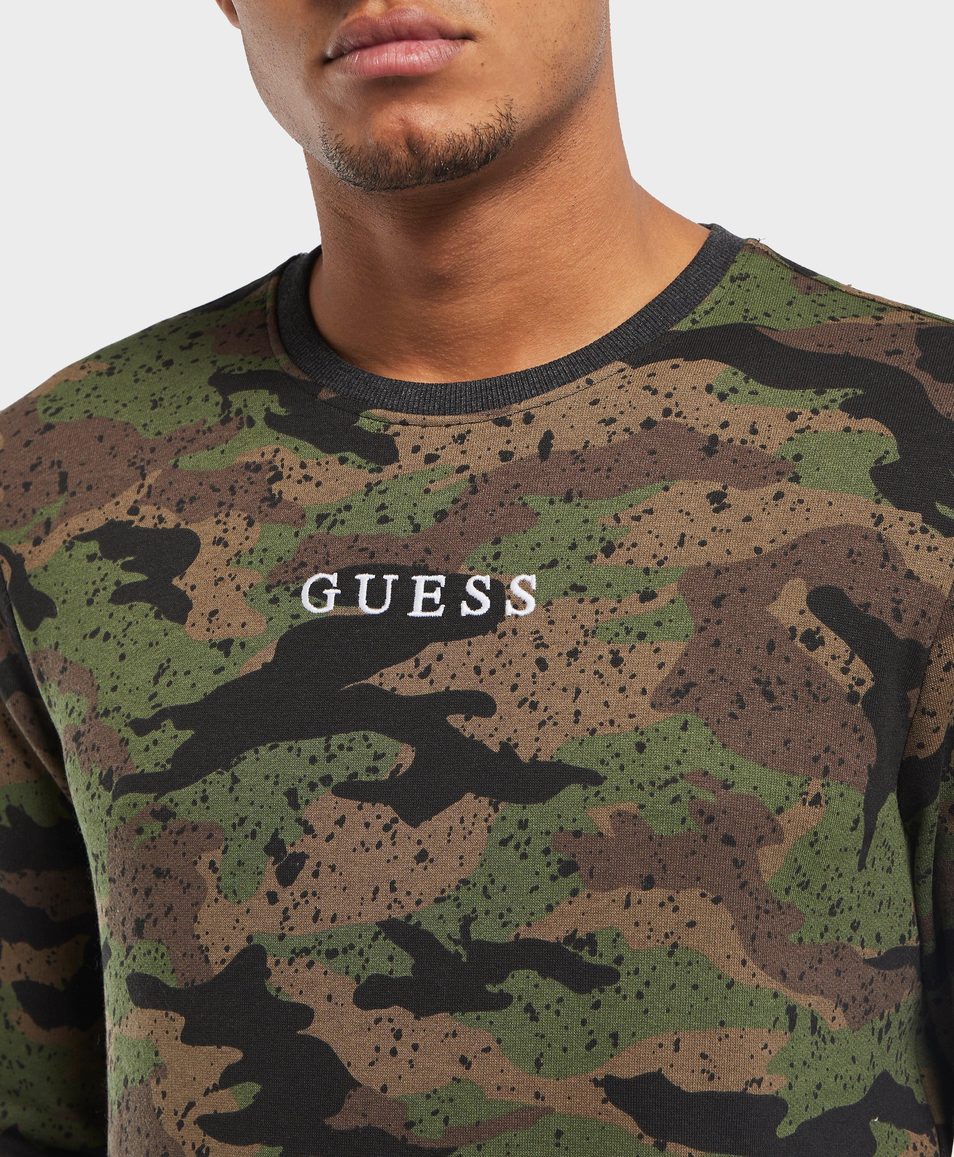 733c16e8a Guess Camo Logo Sweatshirt for Men - Lyst