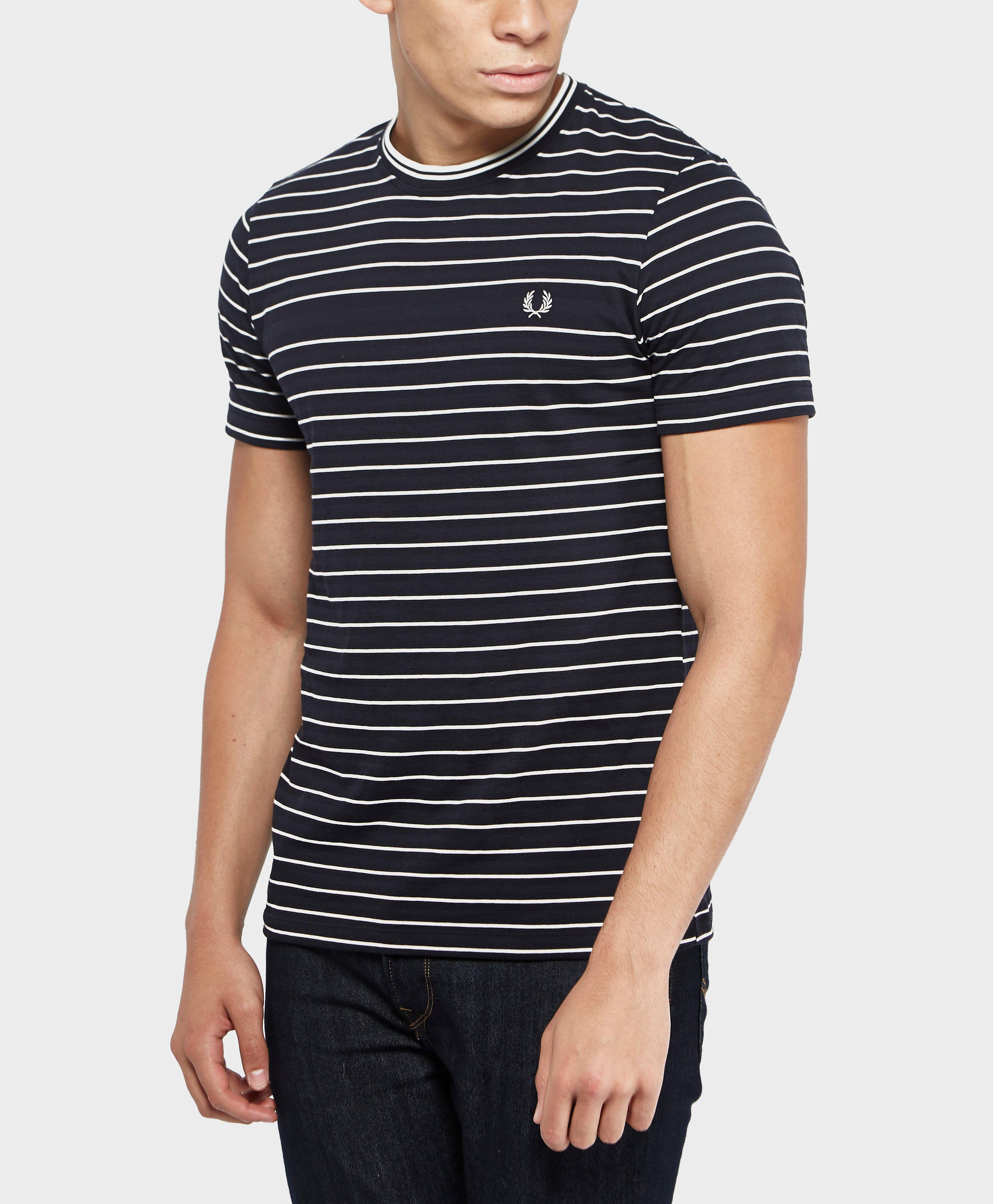 Fred Perry Pique Stripe Short Sleeve T Shirt In Blue For