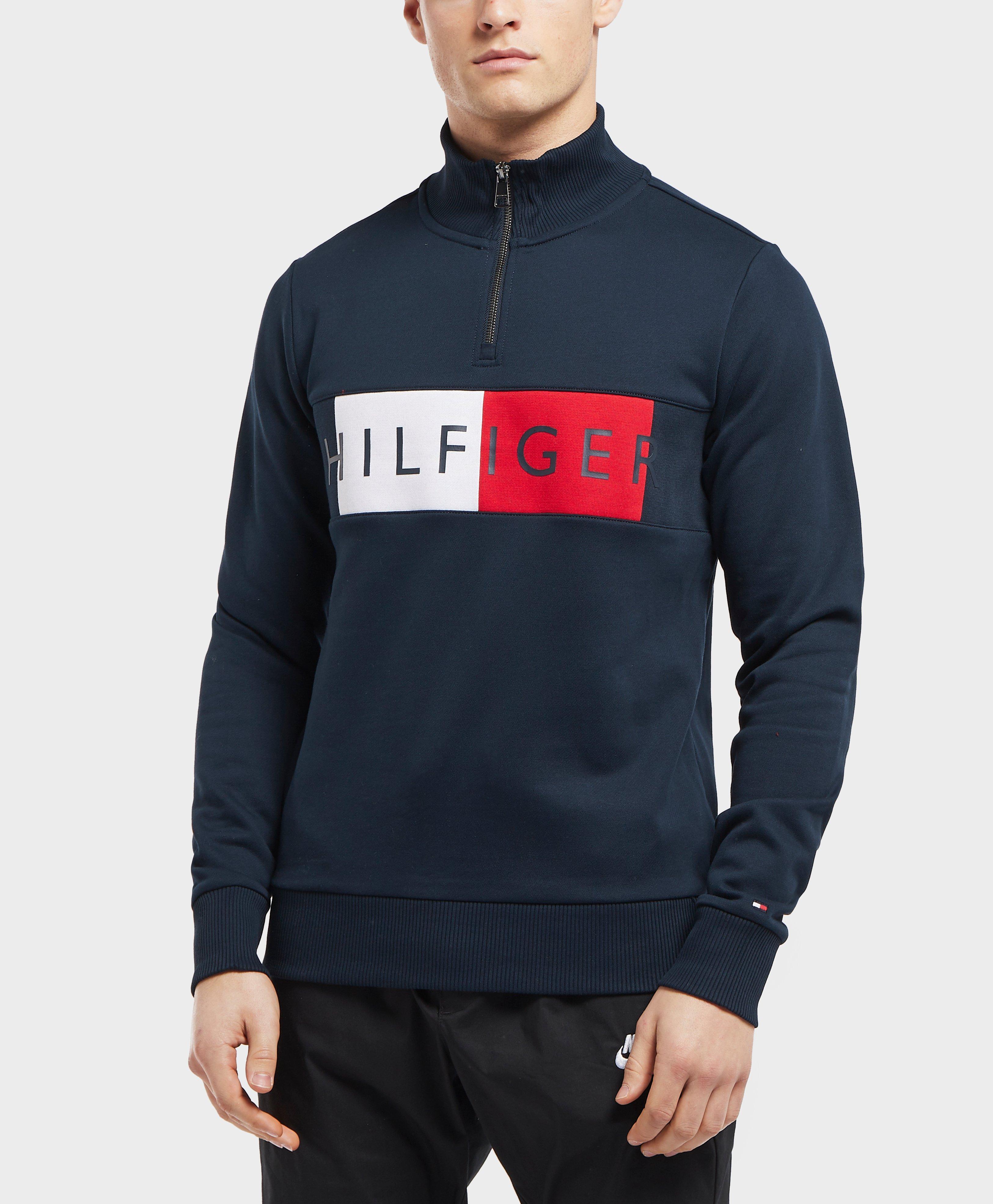 4fb55add0246 Tommy Hilfiger Half Zip Flag Sweatshirt in Blue for Men - Lyst