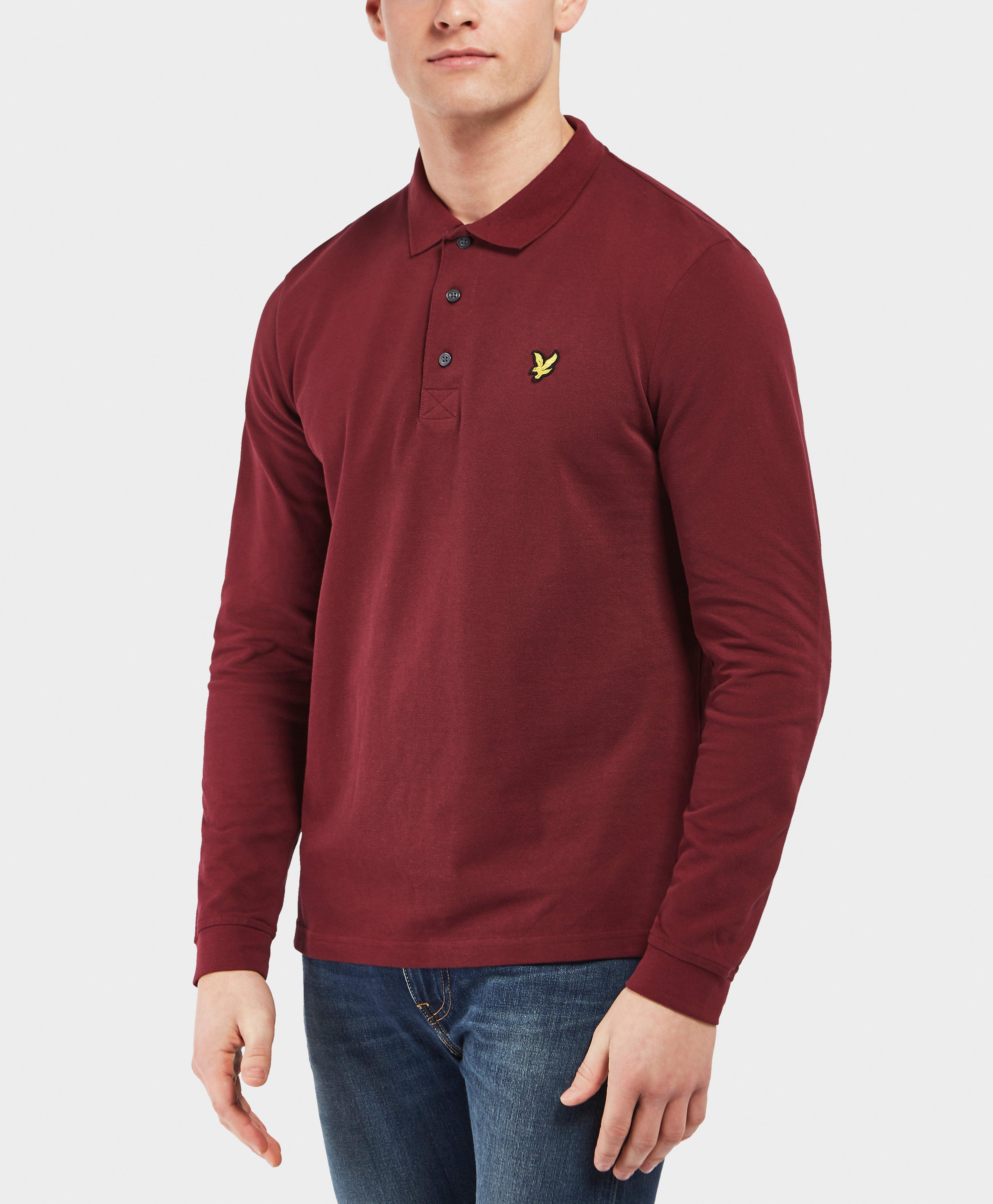 7ae99f3c106 Lyle   Scott Basic Long Sleeve Polo Shirt in Red for Men - Lyst