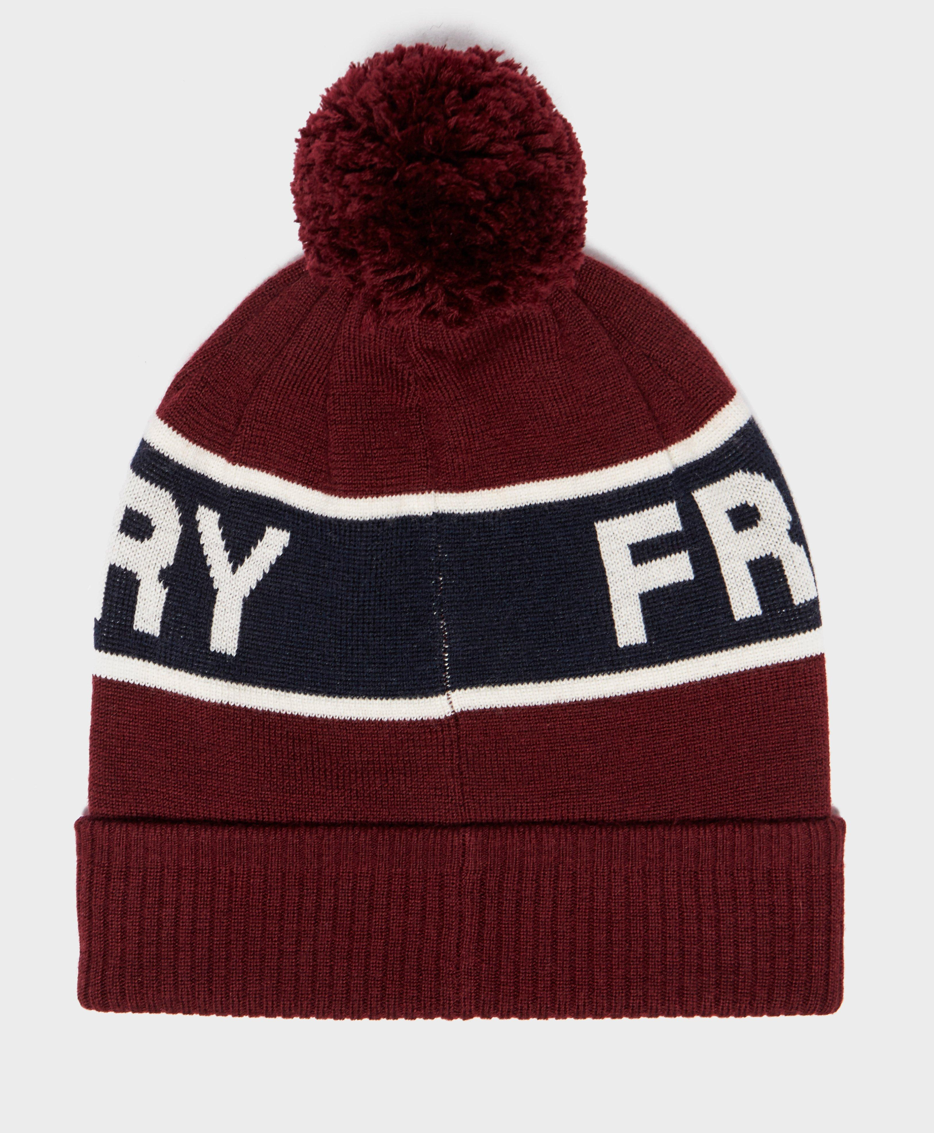 58dc6e64671 Fred Perry Bobble Beanie Hat in Red for Men - Lyst
