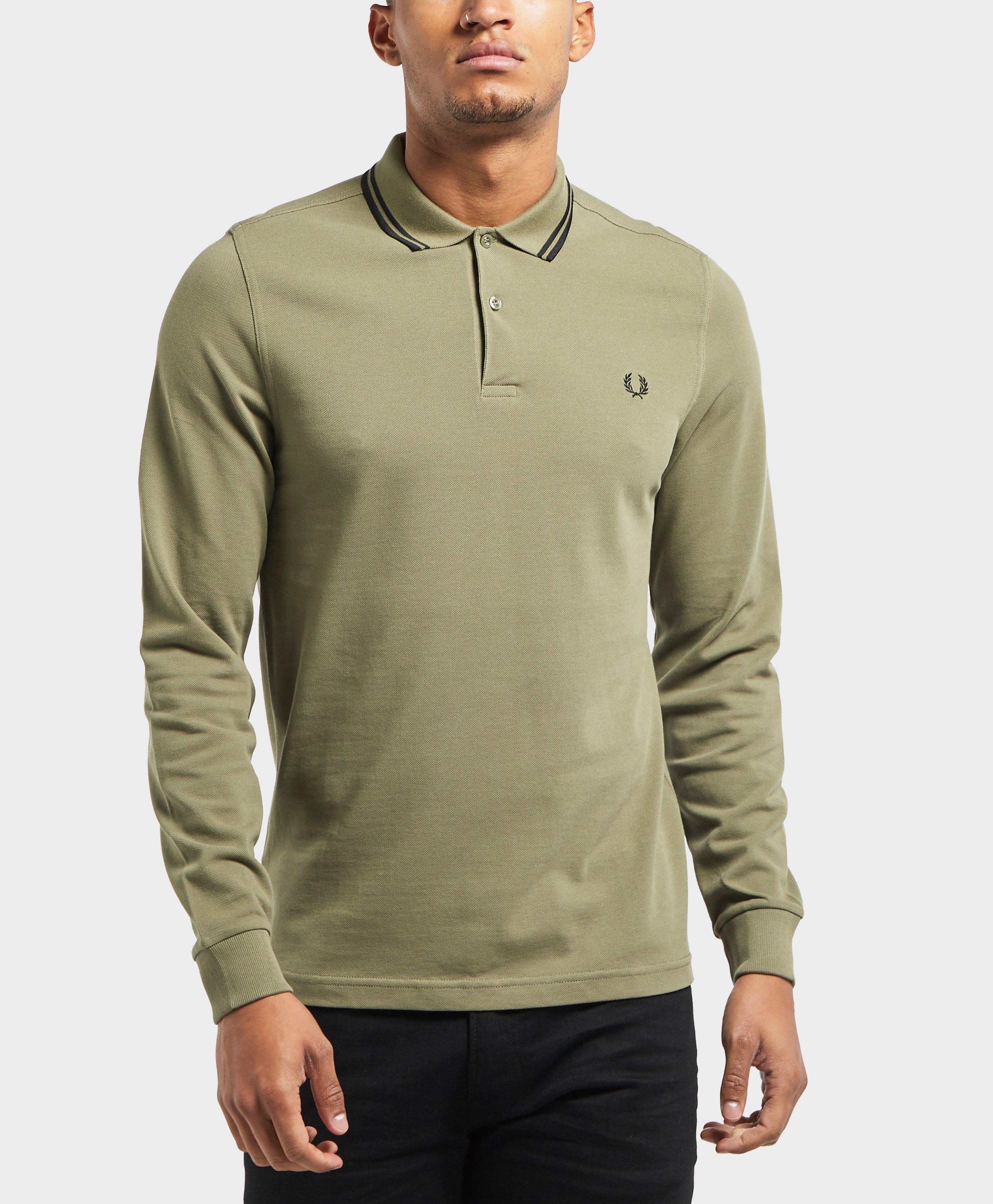 Lyst Fred Perry Long Sleeve Twin Tip Polo Shirt In Green For Men