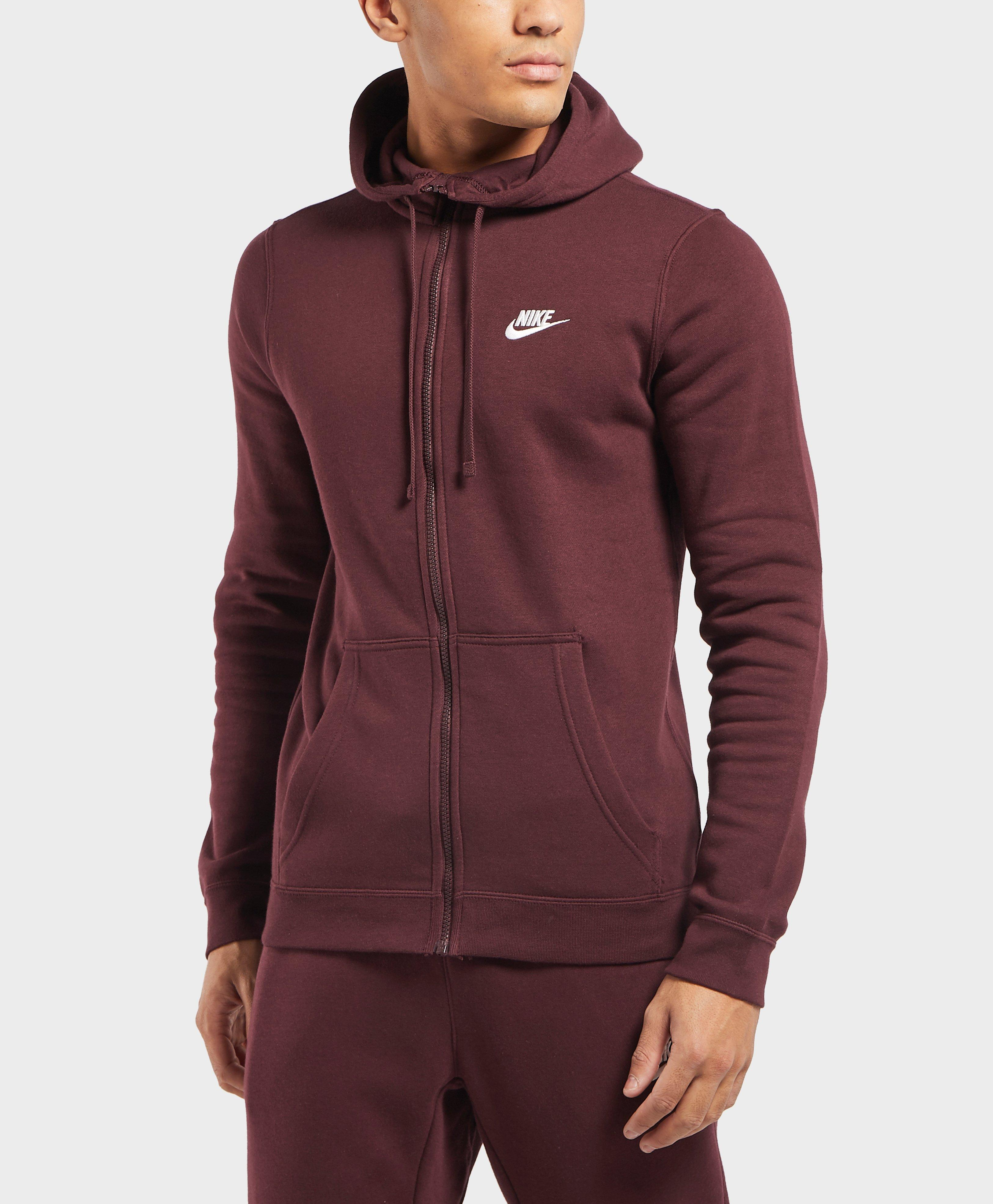 e933a5654804 Nike Club Fleece Full Zip Hoodie in Red for Men - Lyst
