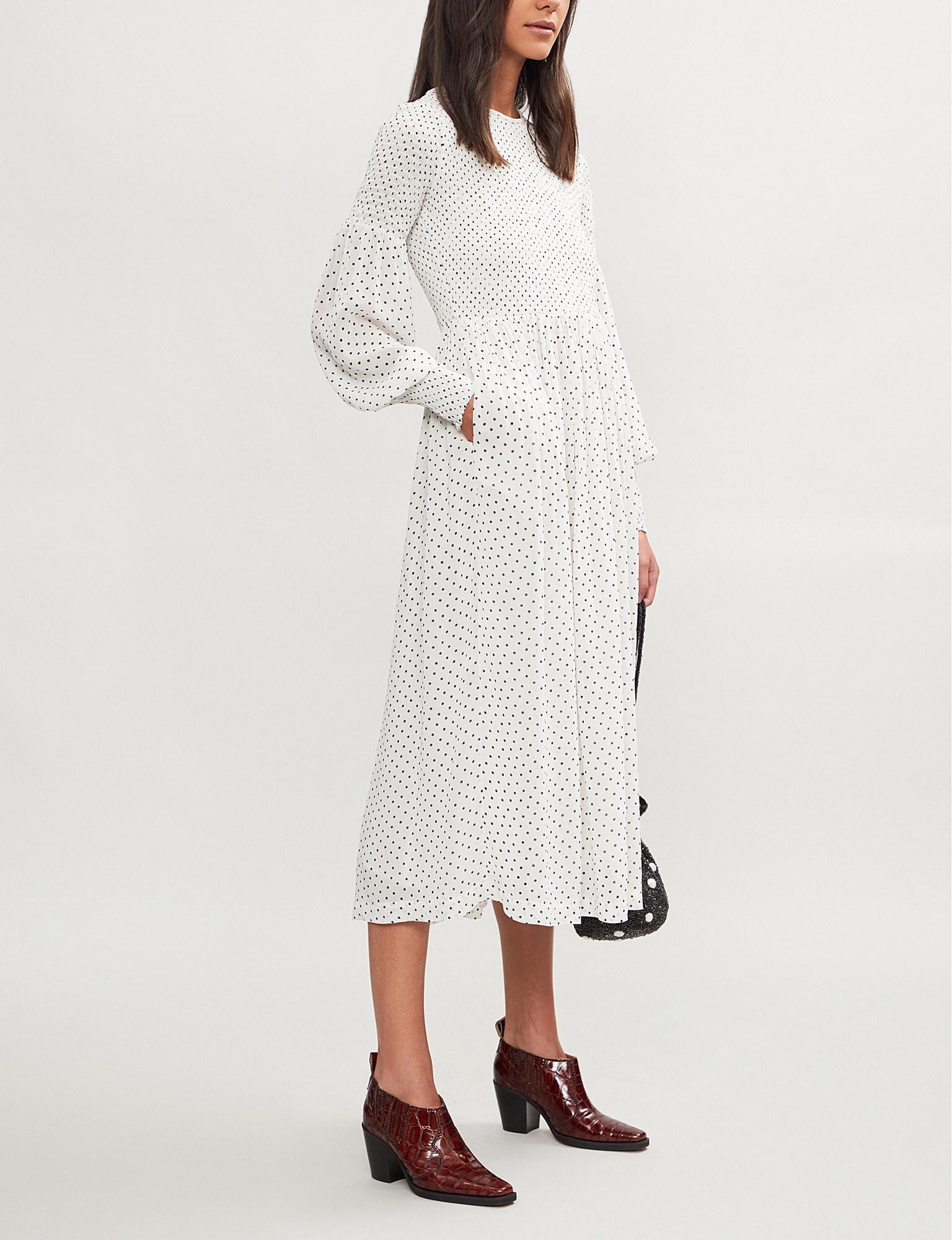 0cbf0266 Ganni Rometty Polka-dot Crepe Midi Dress in White - Lyst
