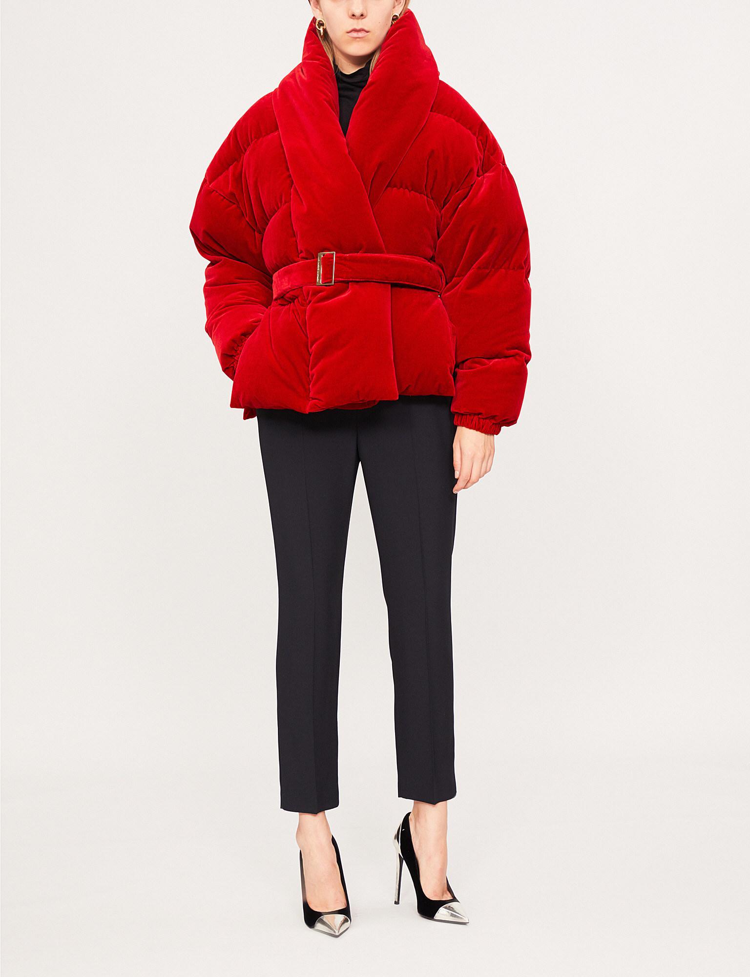 5237a23d Alexandre Vauthier Velvet-down Puffer Jacket in Red - Lyst