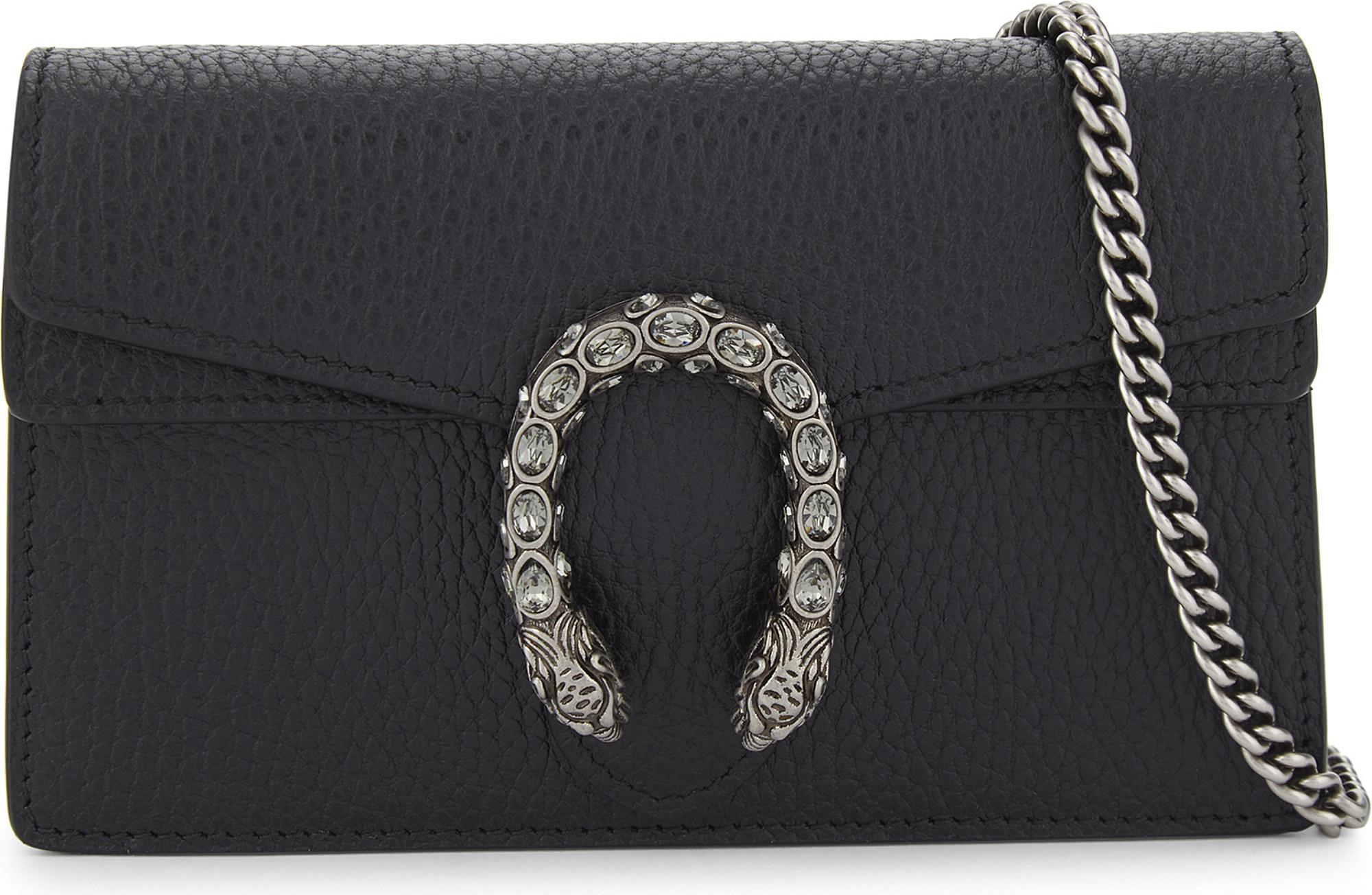 cac3c50e58f Gucci Dionysus Super Mini Grained Leather Cross-body Bag in Black - Lyst