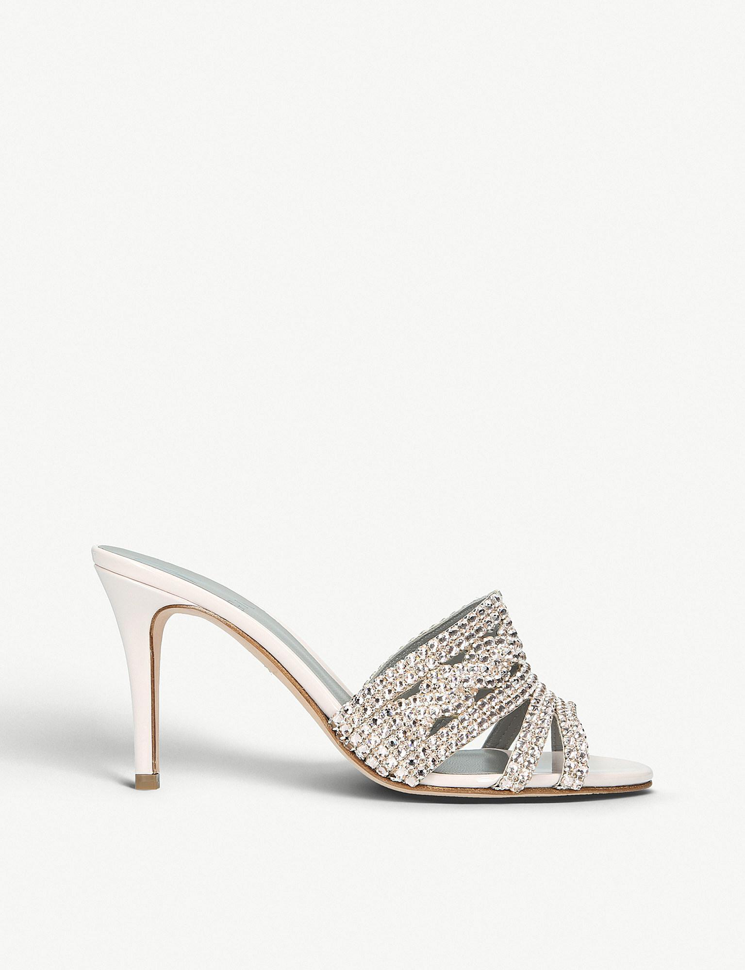 3d565ca00fe Gina Natural Jarrah Embellished Leather Heeled Mule Sandals