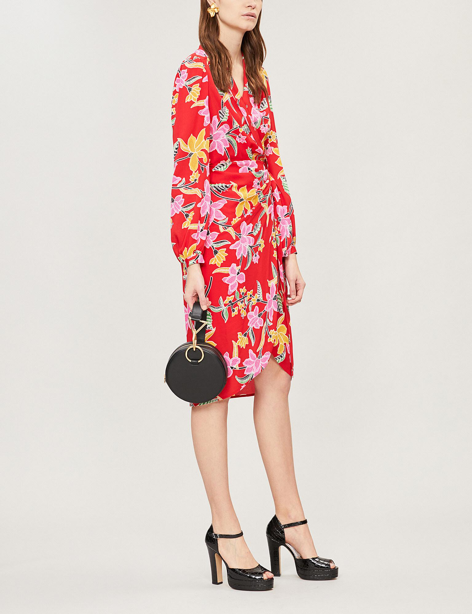 9641fa262a Diane Von Furstenberg Carla Floral-print Crepe Wrap Dress in Red - Lyst