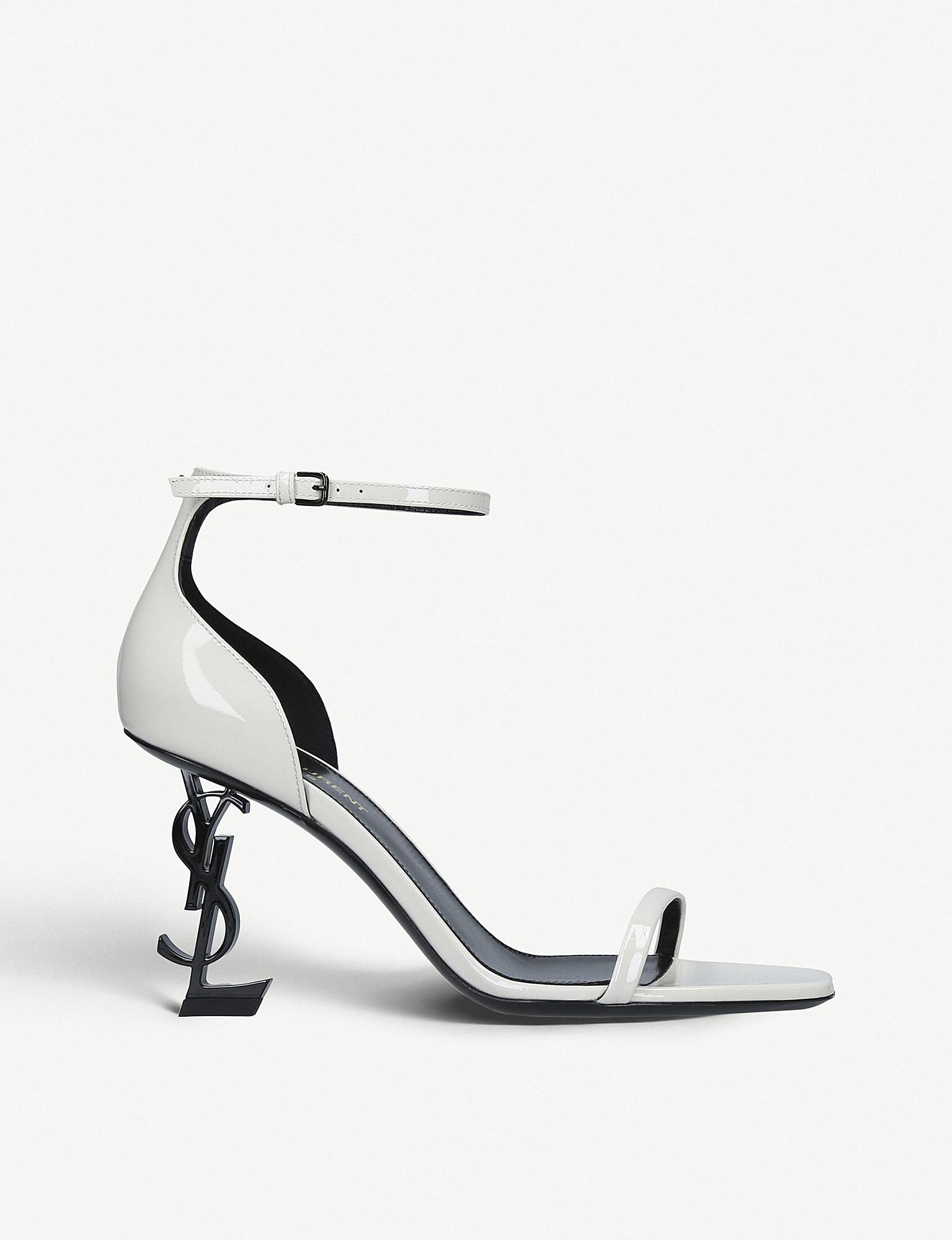 6ed6919e75fa Saint Laurent Opyum 85 Patent-leather Sandals in Natural - Lyst