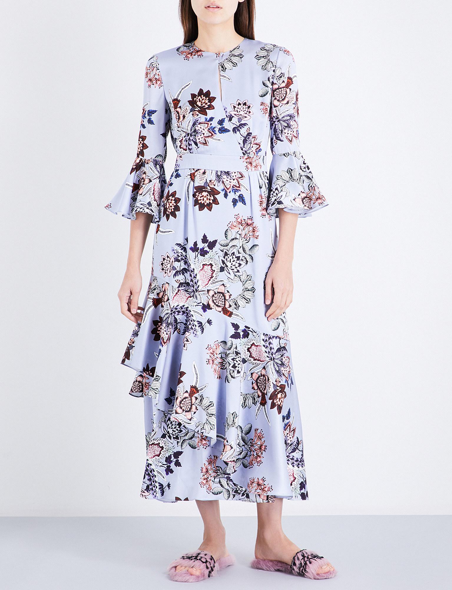 Multicolor Silk Floral Florence Dress Erdem U5lyI