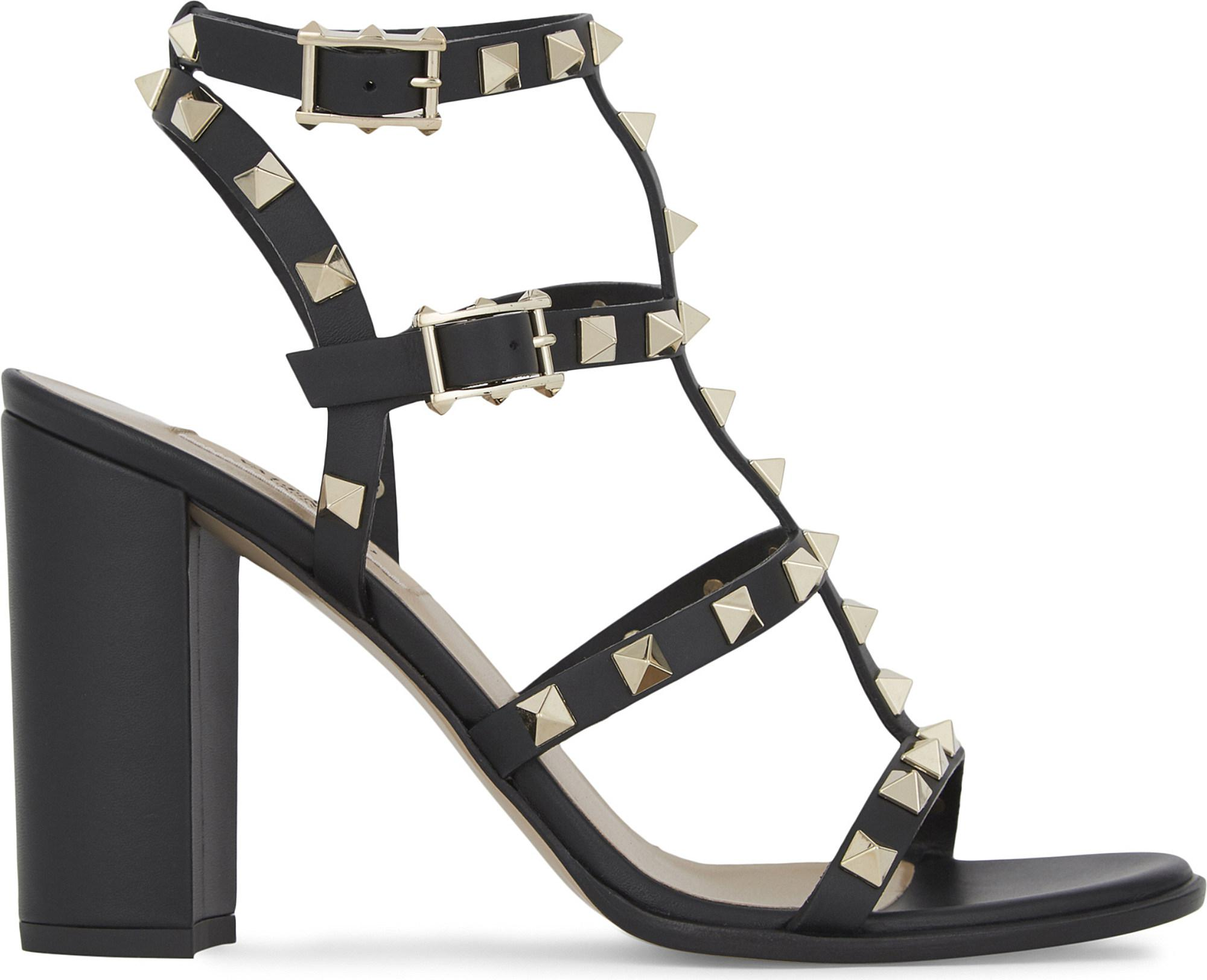 2a273ee97d7 Lyst - Valentino Rockstud 90 Leather Heeled Sandals in Black - Save 22%