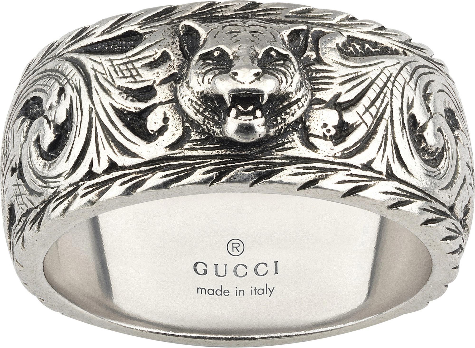 bfb7e9f2449b Lyst - Gucci Gatto Sterling Silver Ring in Metallic