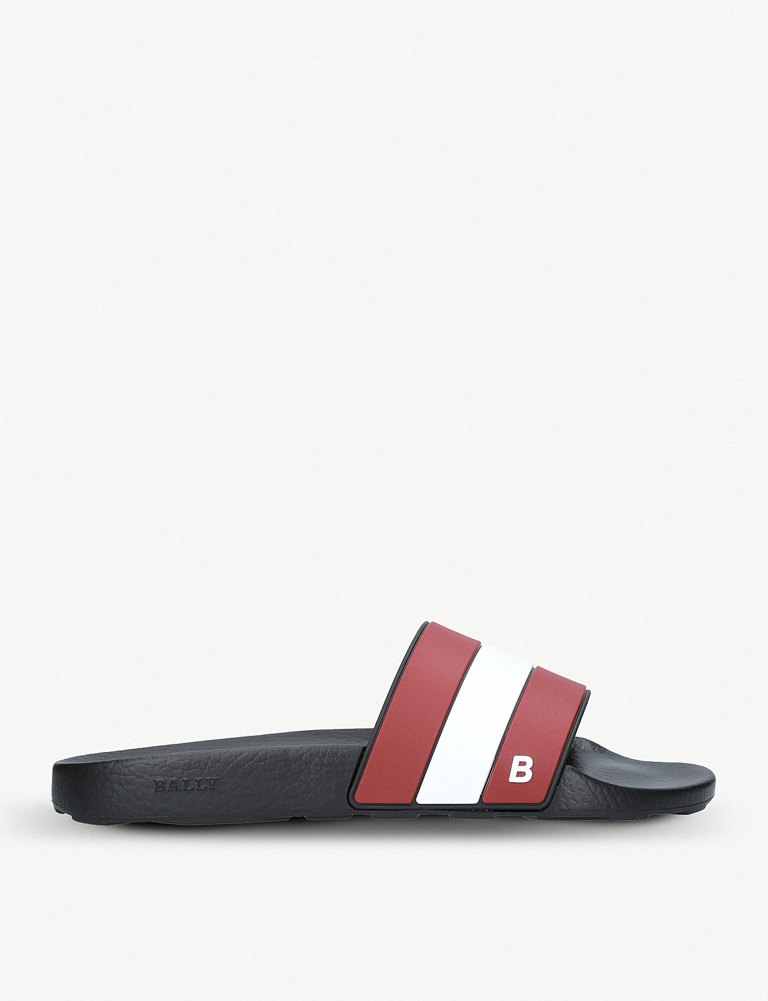28e82450a3c Lyst - Bally Sleter Stripe Rubber Sliders in Red
