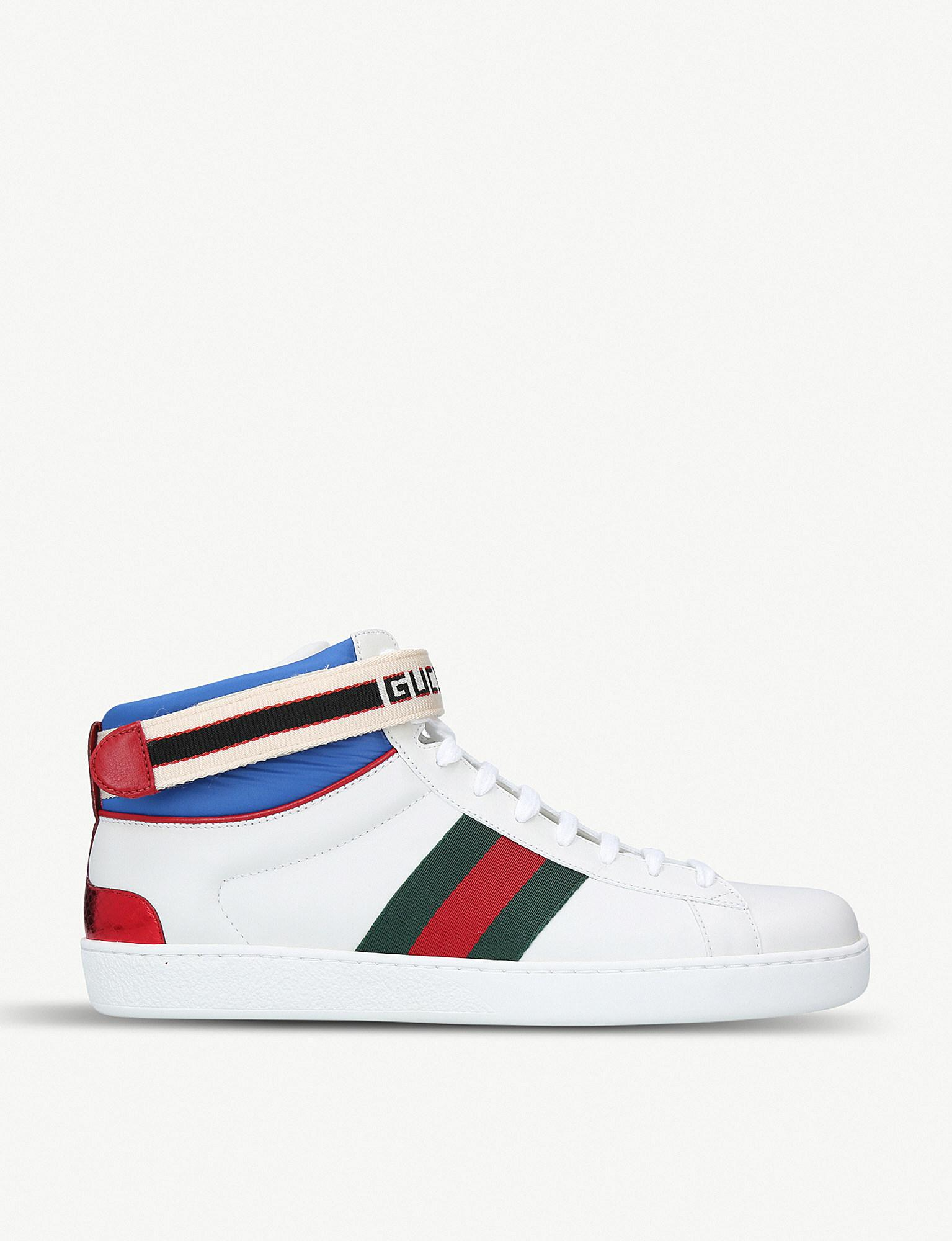 105c4905a3e Lyst - Gucci New Ace Leather High-top Trainers in White