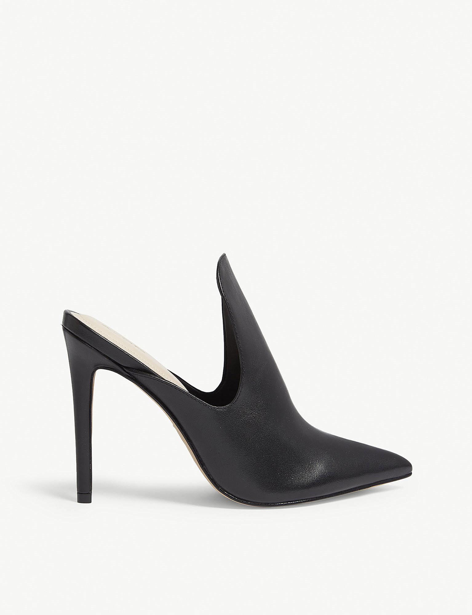 a62e4fb8d65 ALDO Tenno Heeled Leather Mules in Black - Lyst
