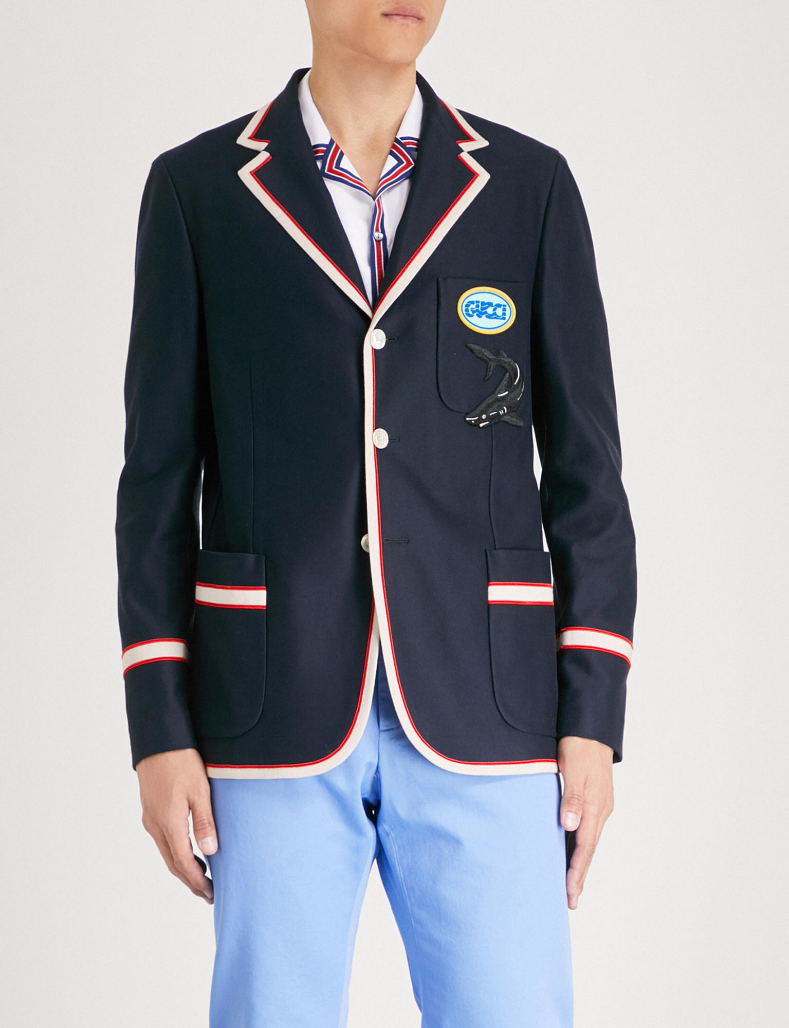 0609daad3 Lyst - Gucci Cotton Jacket With Pool Patch in Blue for Men - Save 10%