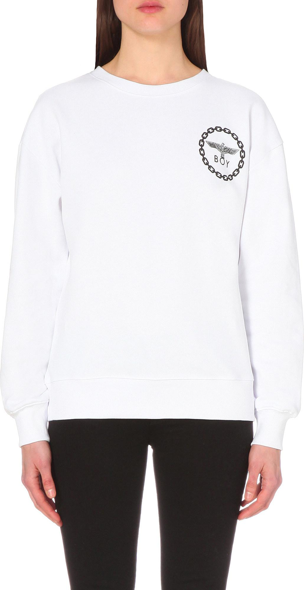 670d11bf414f BOY London. Women s White Eagle-print Cotton-jersey Sweatshirt. £75 From  Selfridges
