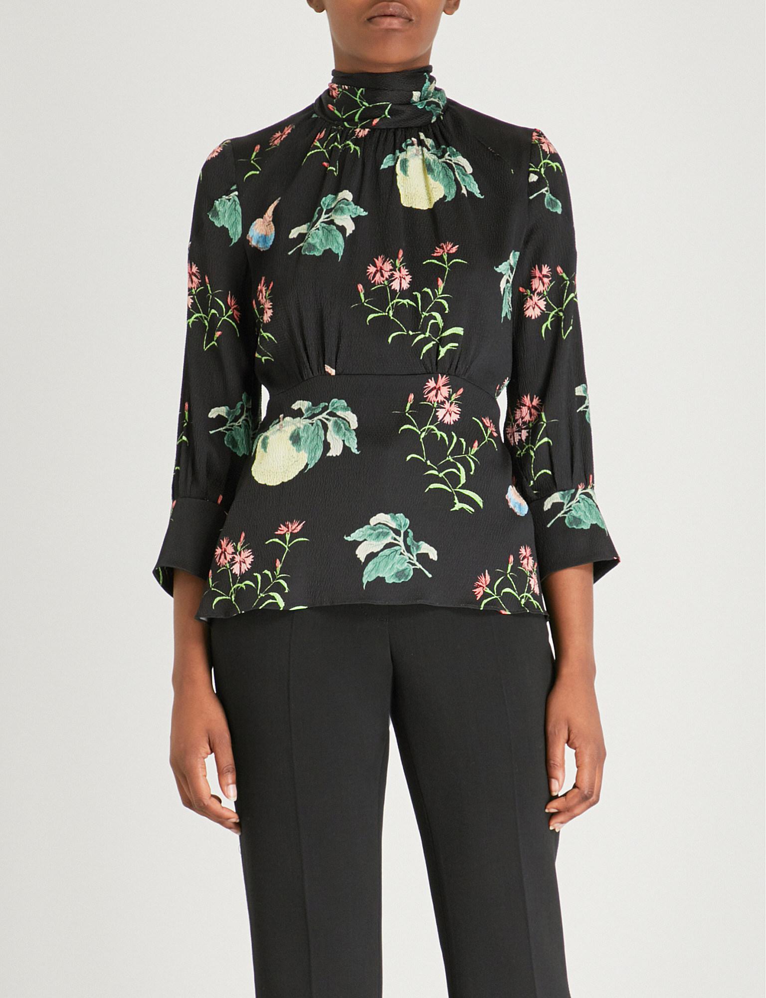 b934cf8a346c4 Lyst - Peter Pilotto Ladies Black Floral-print High-neck Silk Top in ...
