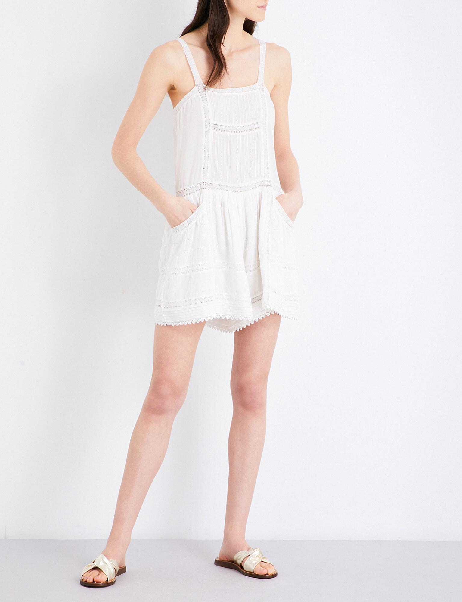 da775720488 Lyst - Maje Ival Lace Playsuit in White