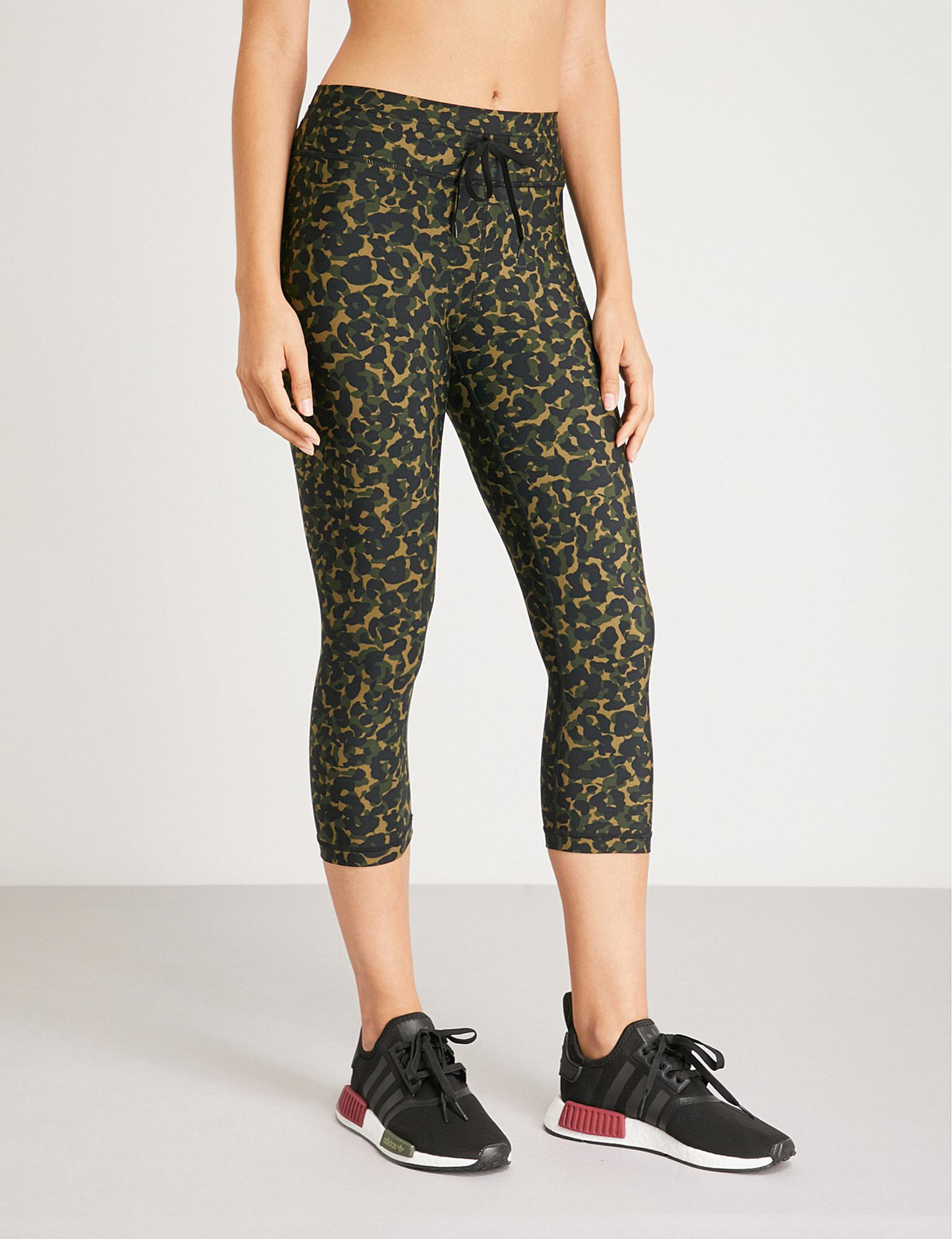 The Upside Womens Green Nyc Leopard Camo Print Stretch Jersey Leggings