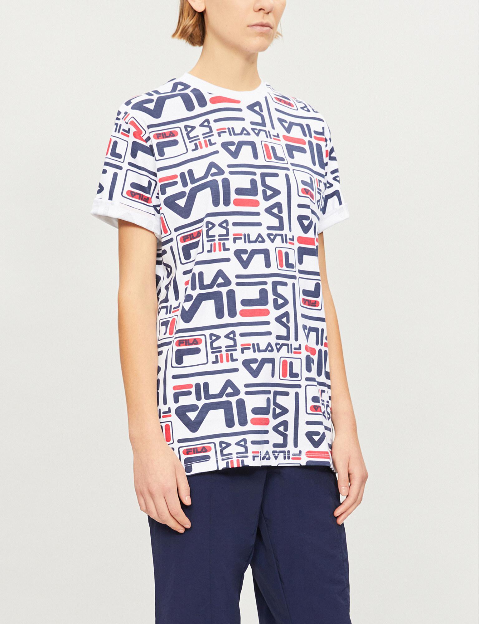 7efb87381b6c Fila Charlie Logo-print Cotton-jersey T-shirt in White - Lyst
