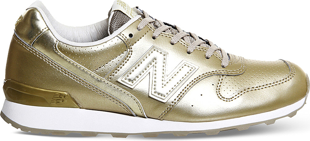new balance 996 metallic leather trainers in metallic lyst. Black Bedroom Furniture Sets. Home Design Ideas