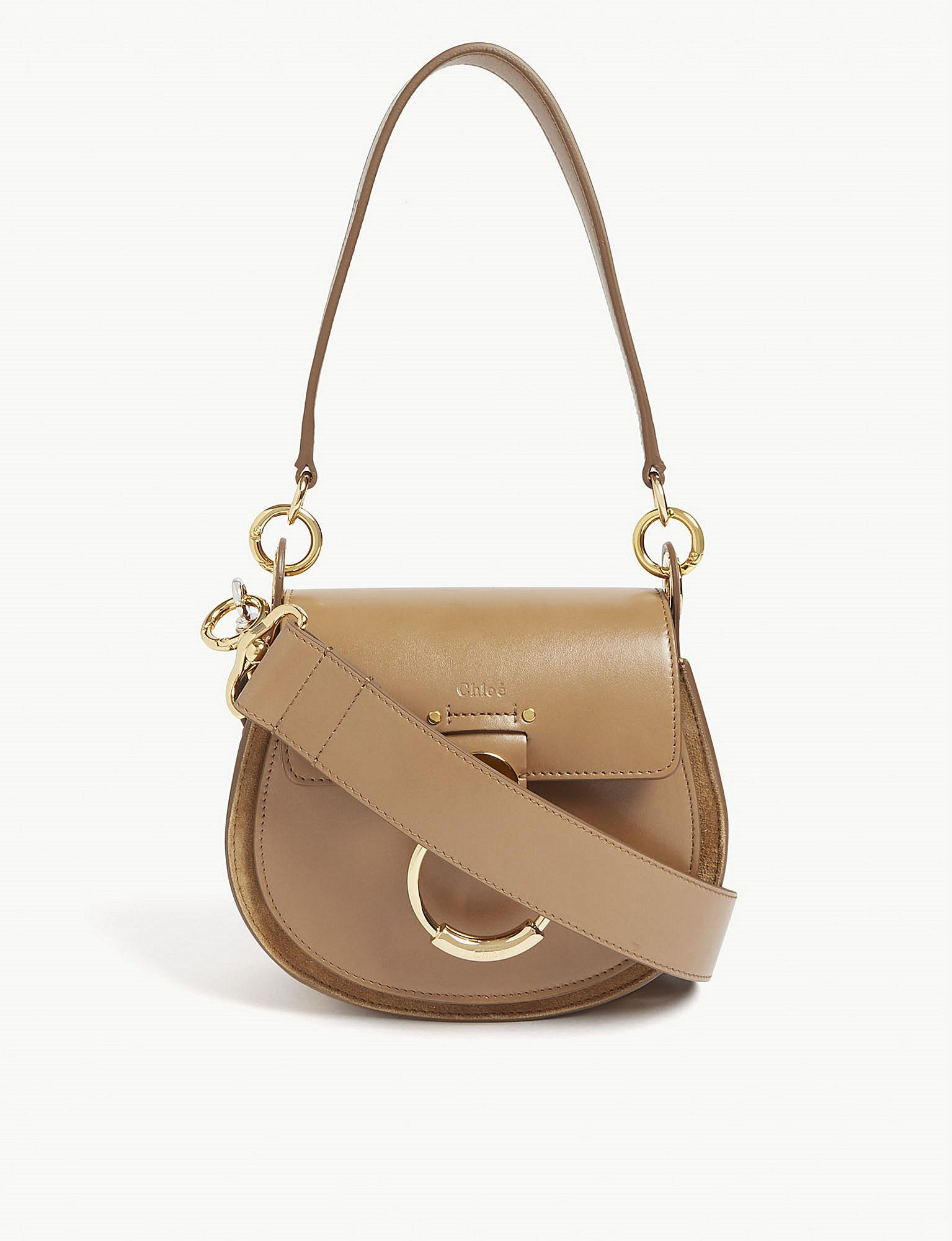 Cross And Leather Tess In Natural Body Suede Chloé Lyst Bag xaqtwXa