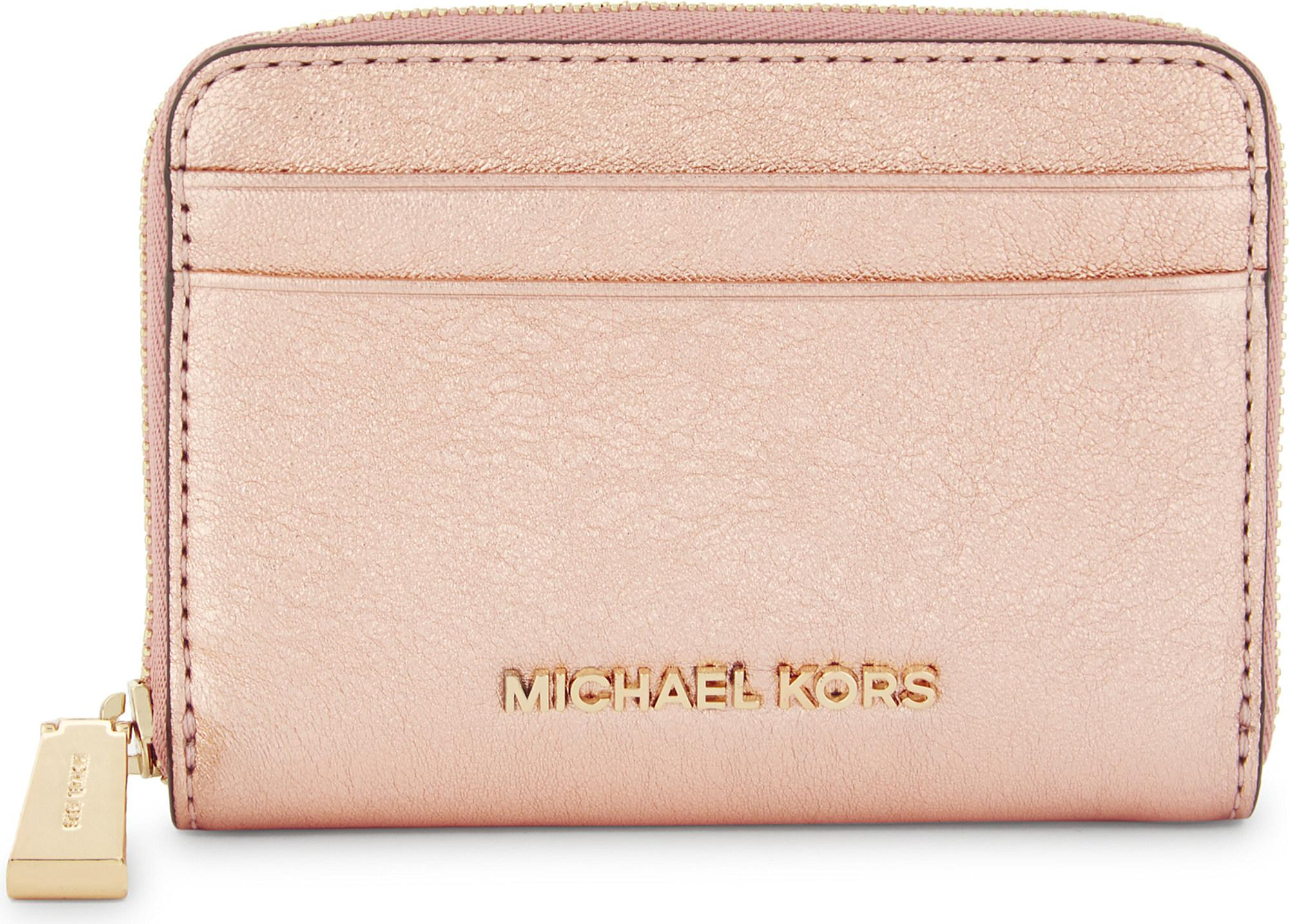 373c0ca6 MICHAEL Michael Kors Crackled Leather Zip-around Card Case in Pink ...