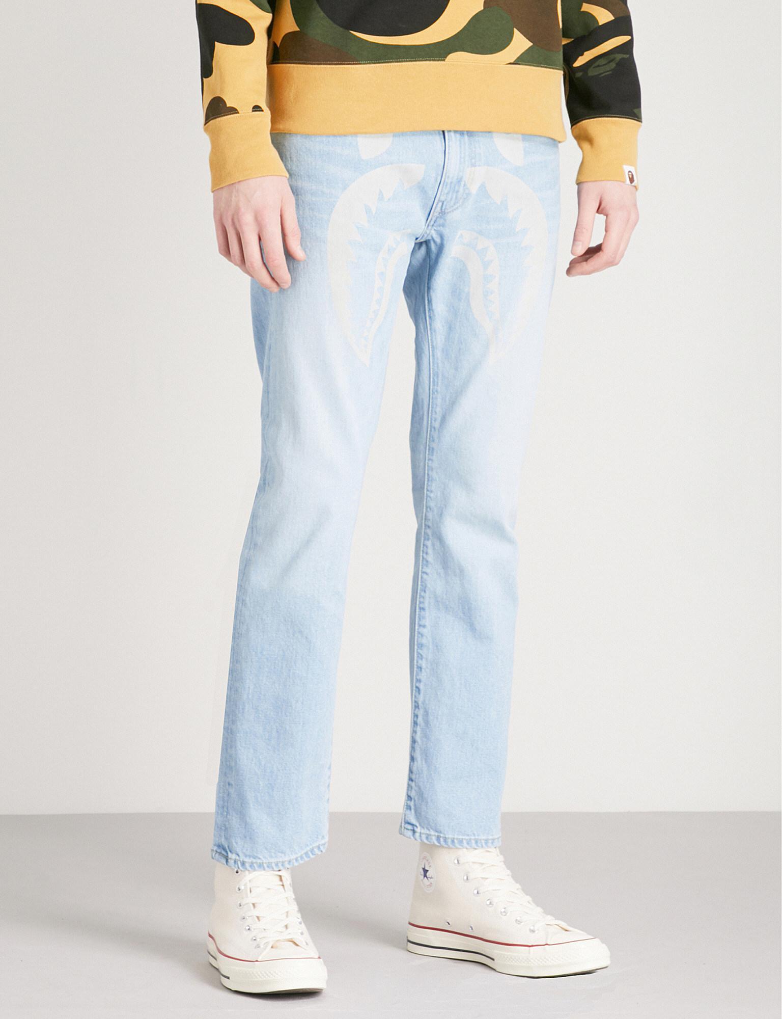 949c1cb873e4 Lyst - A Bathing Ape Shark-print Regular-fit Straight Jeans in Blue ...