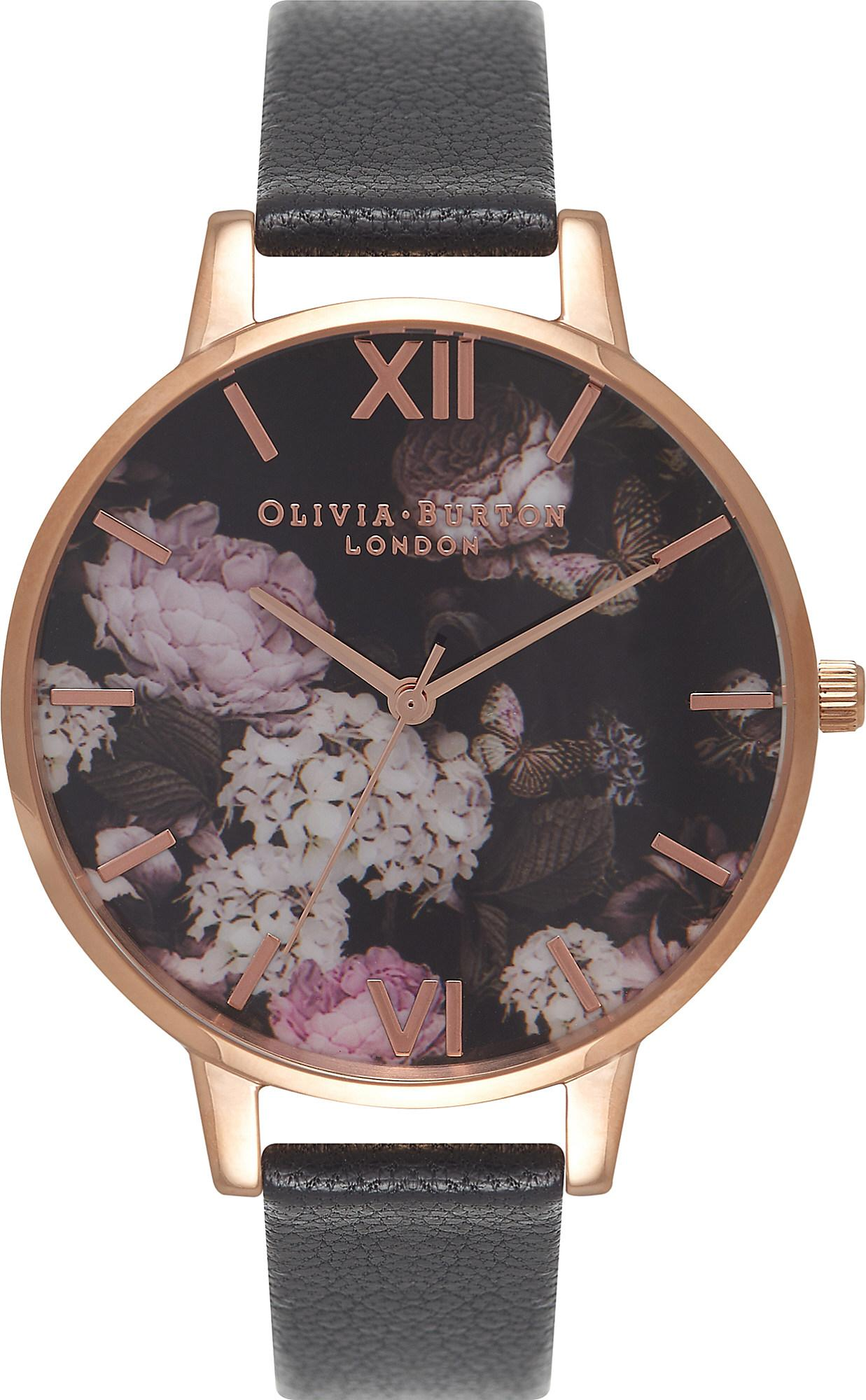 olivia burton ob15wg12 winter garden rose gold and leather watch