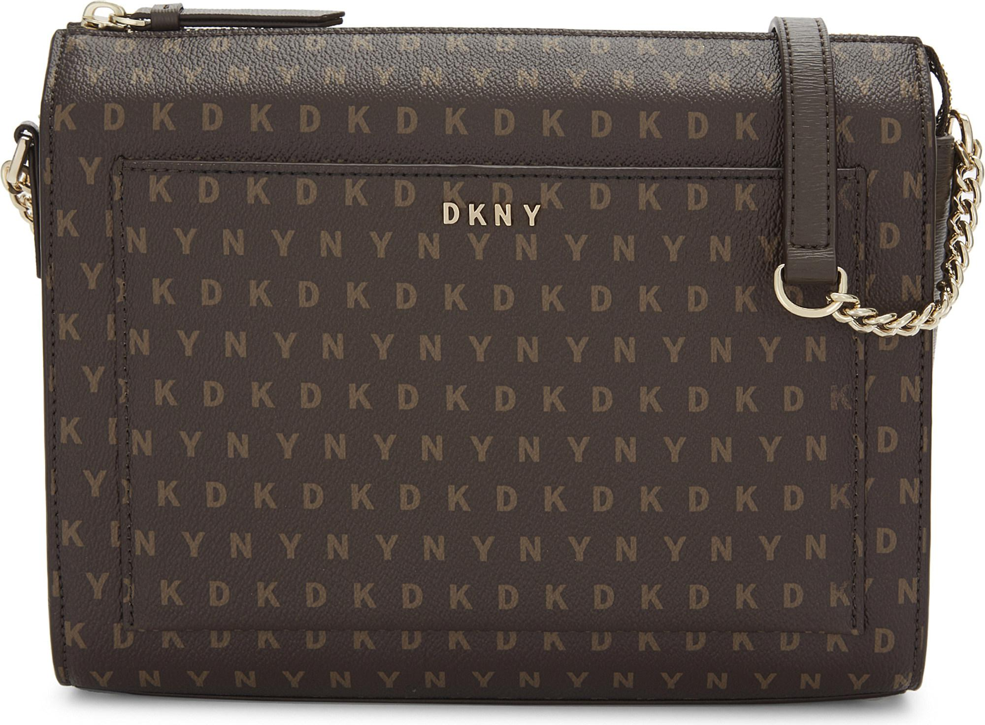 2ad8259158d6 Lyst - DKNY Logo Medium Box Crossbody in Brown