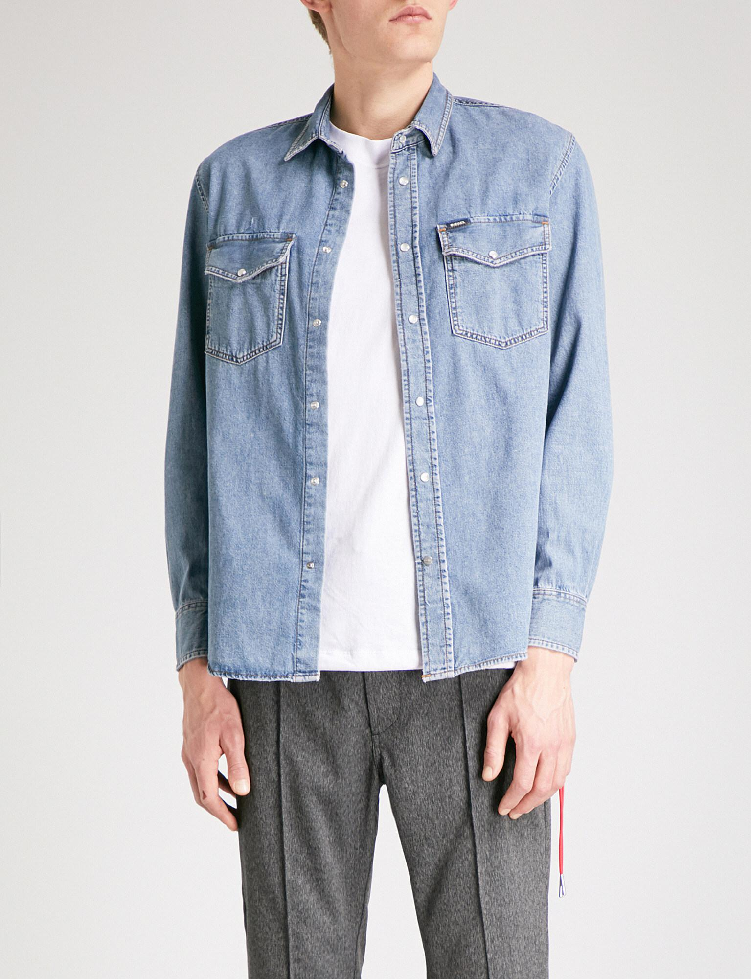 DIESEL. Men's Blue D-rooke Regular-fit Denim Shirt