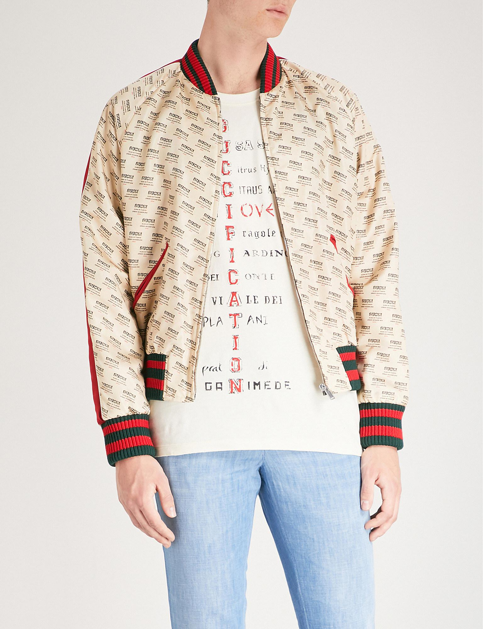 9b6d555f672 Gucci Stamp-print Satin Bomber Jacket in White for Men - Lyst