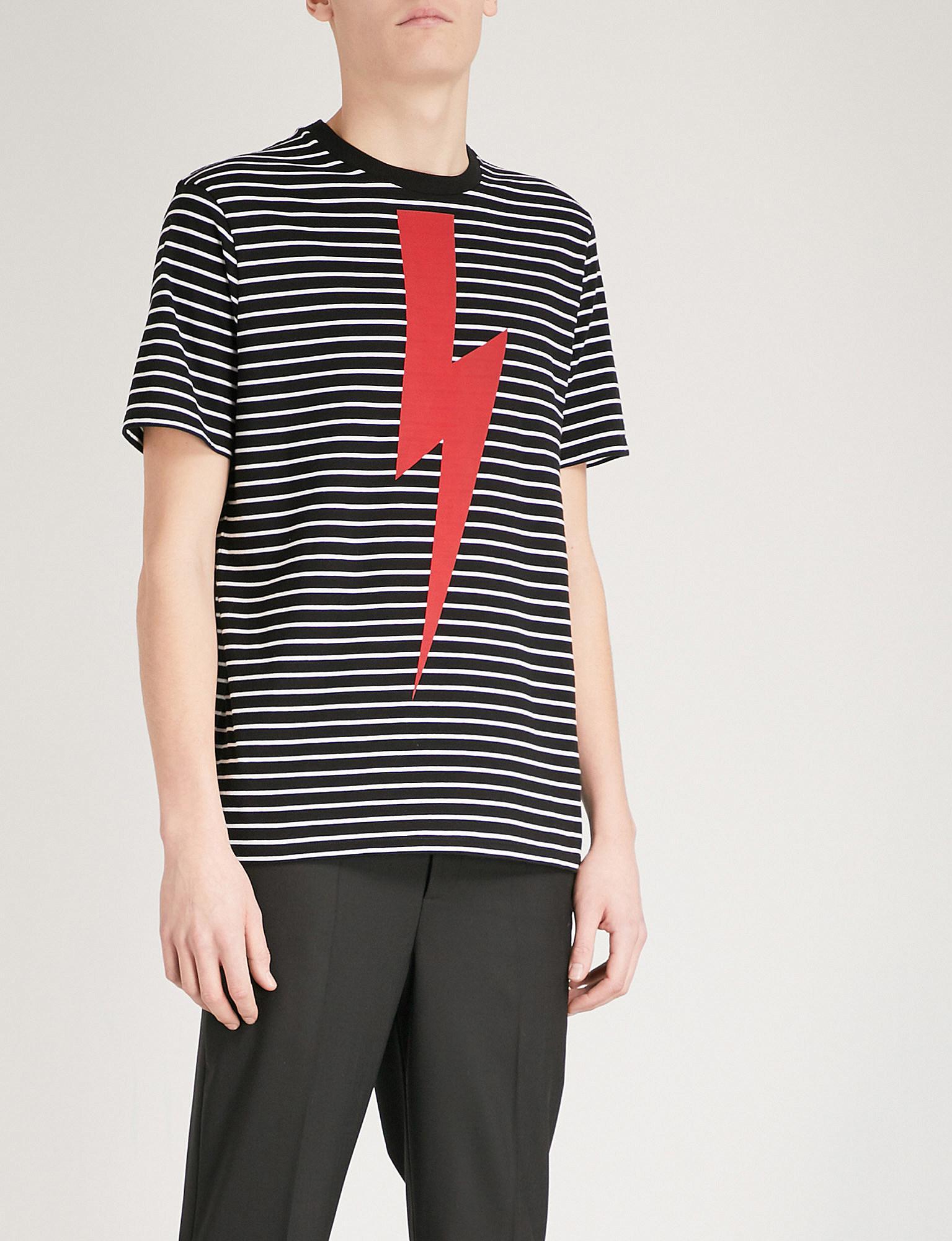536c7d7b Neil Barrett T-bolt Striped Cotton-jersey T-shirt in Black for Men ...