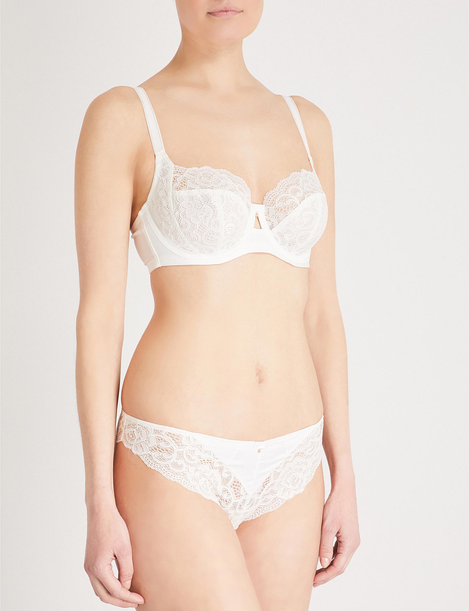 02ff89aeea184 Panache Quinn Satin And Stretch-lace Balconette Bra in White - Lyst
