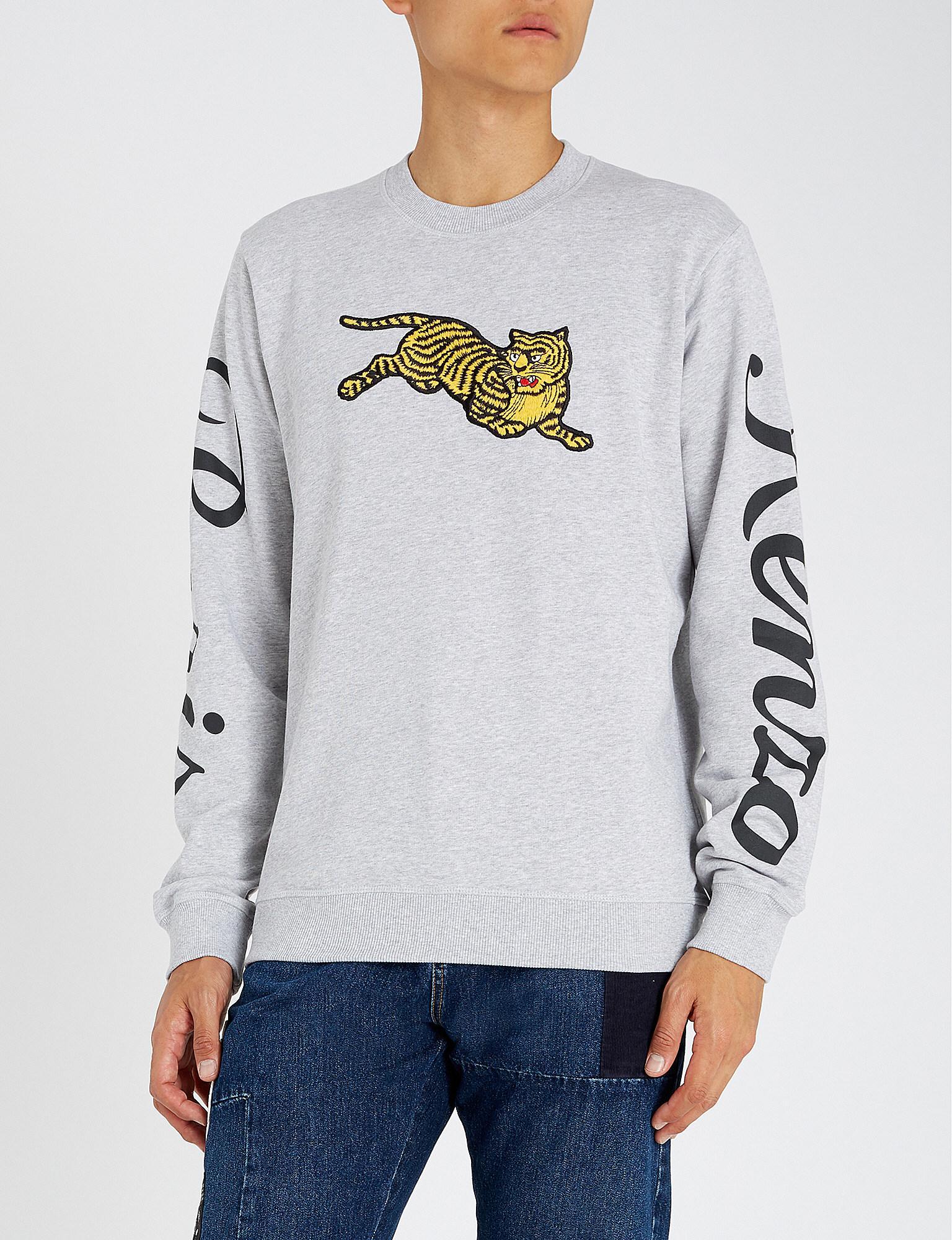 9b4d77ce7 Lyst - Kenzo Tiger-motif Cotton-jersey Sweatshirt in Gray for Men