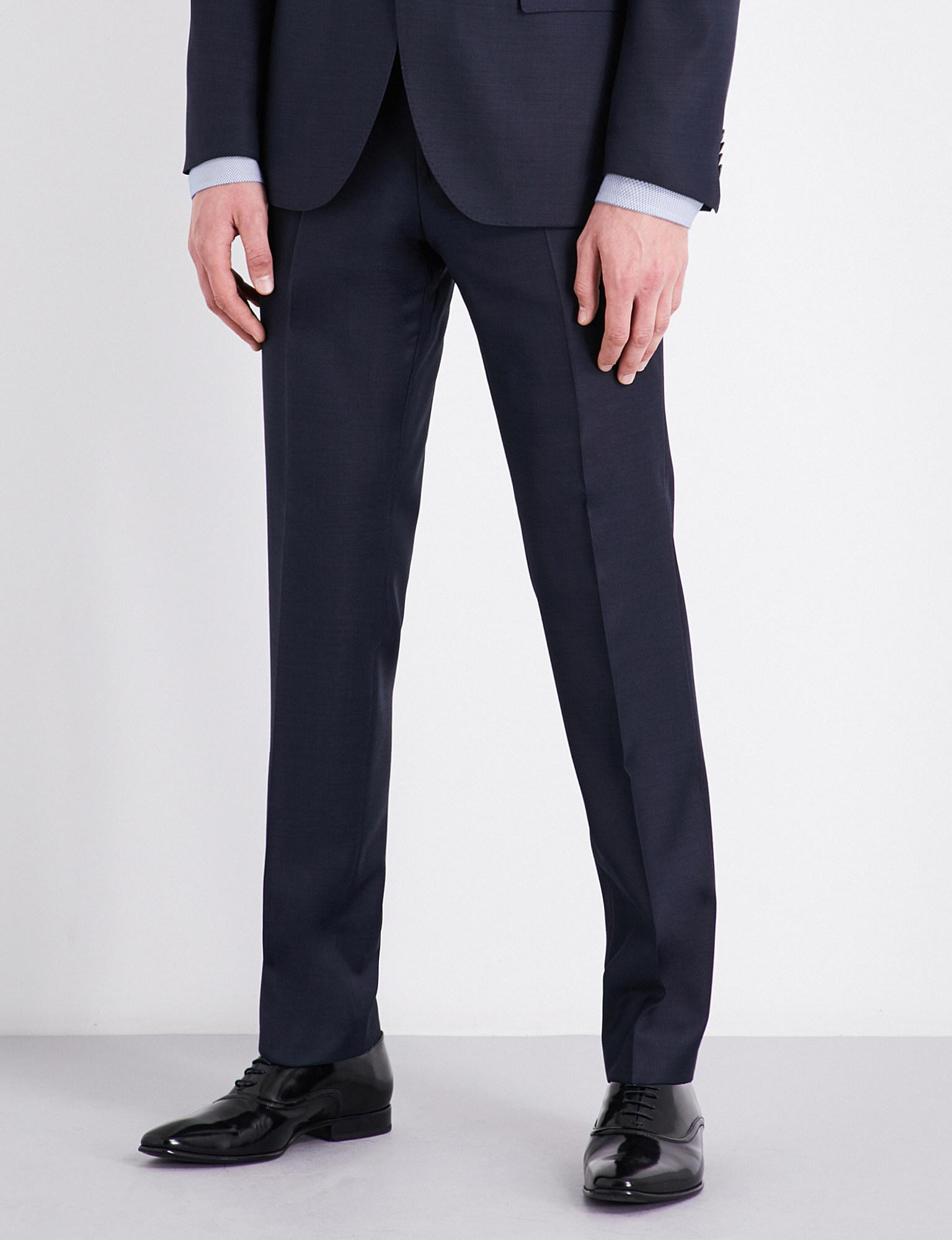 New Cheap Sandro Navy Blue Tapered Birdseye Wool Trousers for Men Sale Sale Online