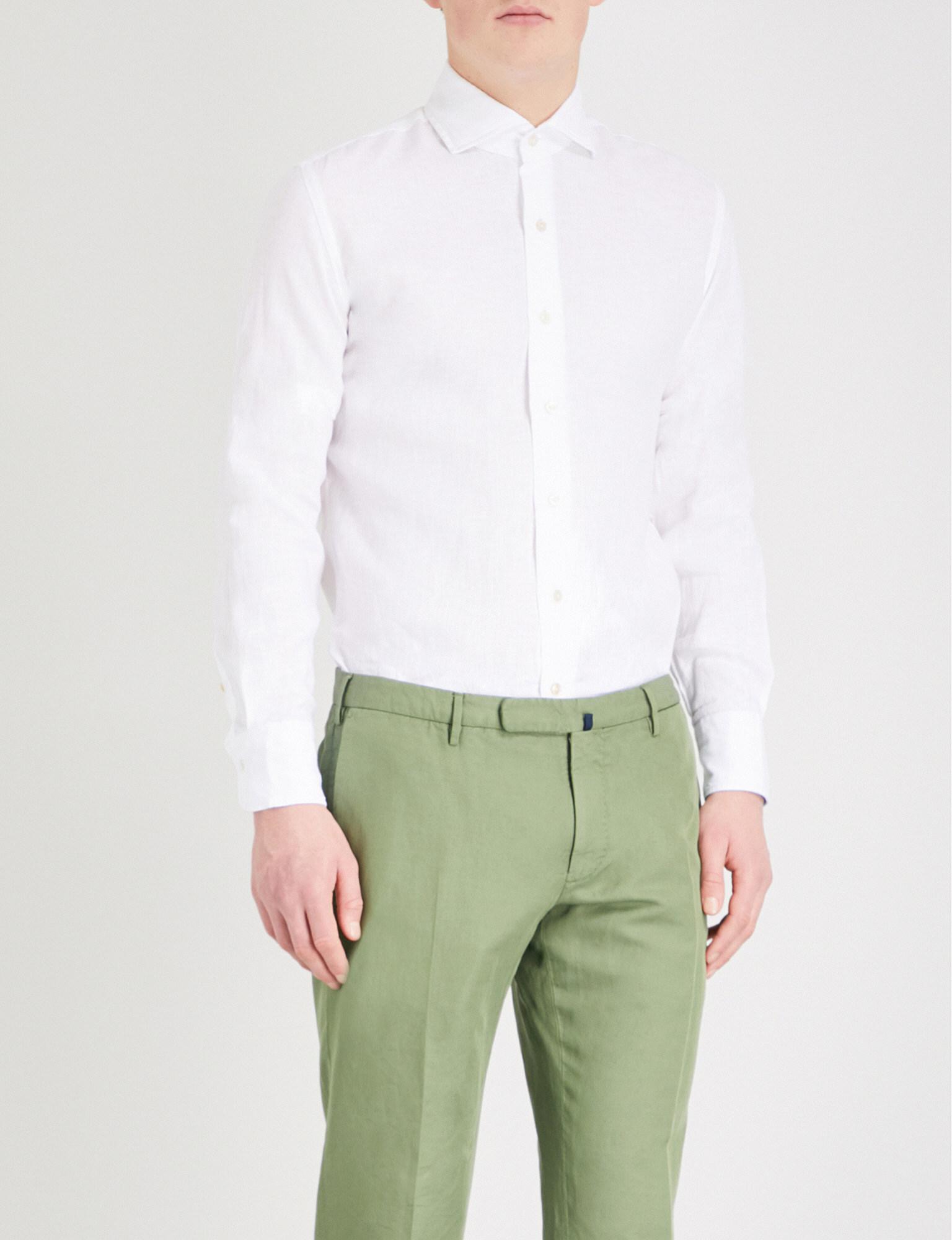 Lyst emmett london slim fit linen shirt in white for men for Slim fit white linen shirt