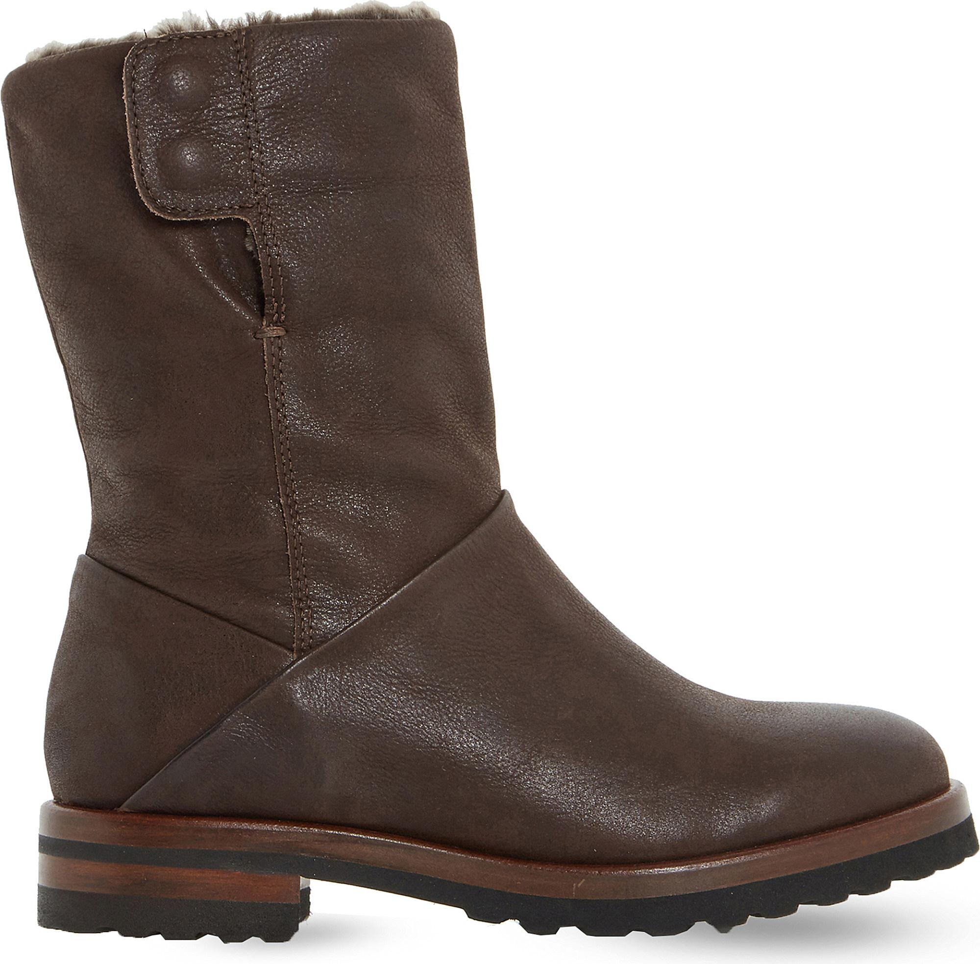 Brown leather DUNE Rayner shearling lined boots