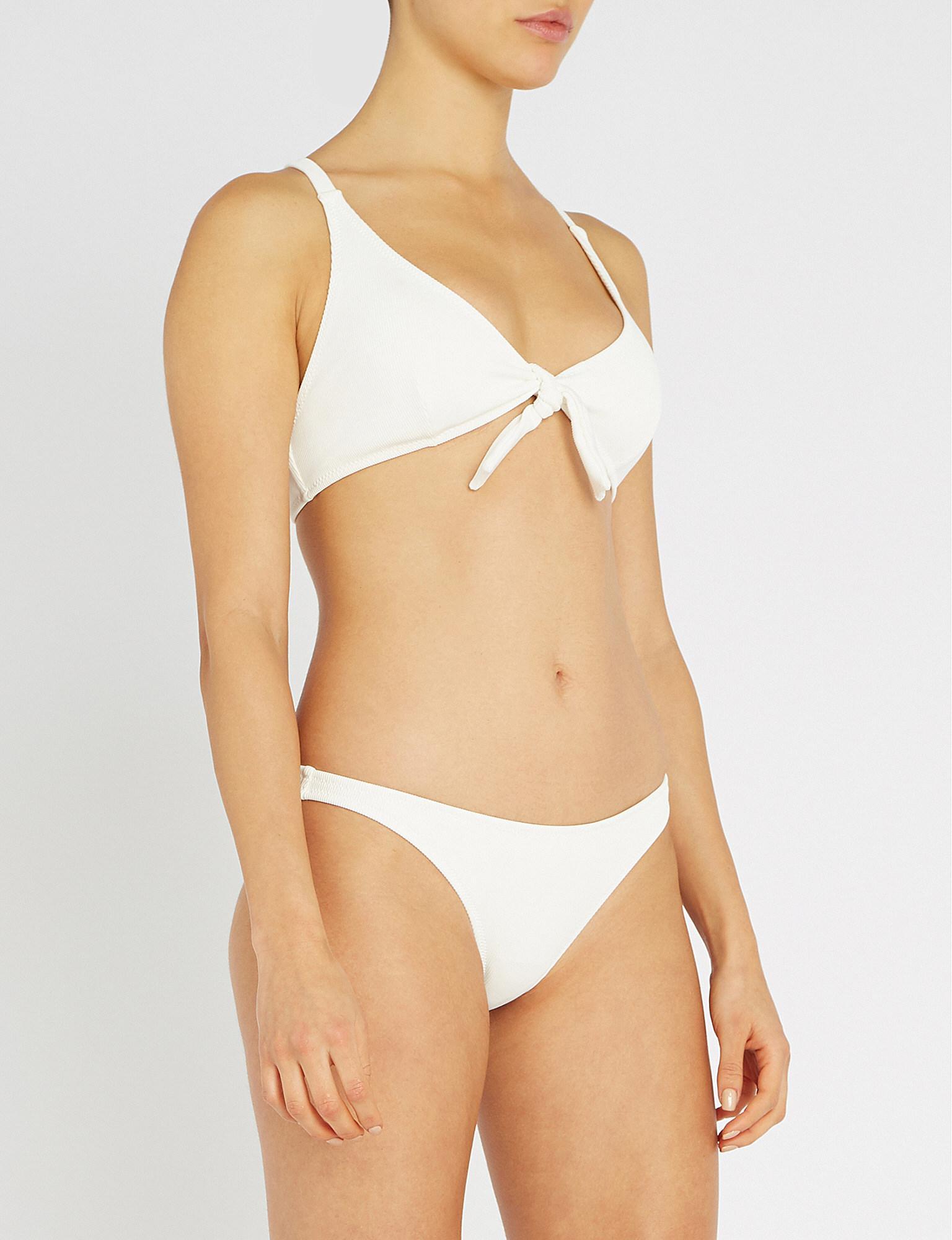 1615807db3941 Solid & Striped Fiona Tie-front Ribbed Triangle Bikini Top in White ...