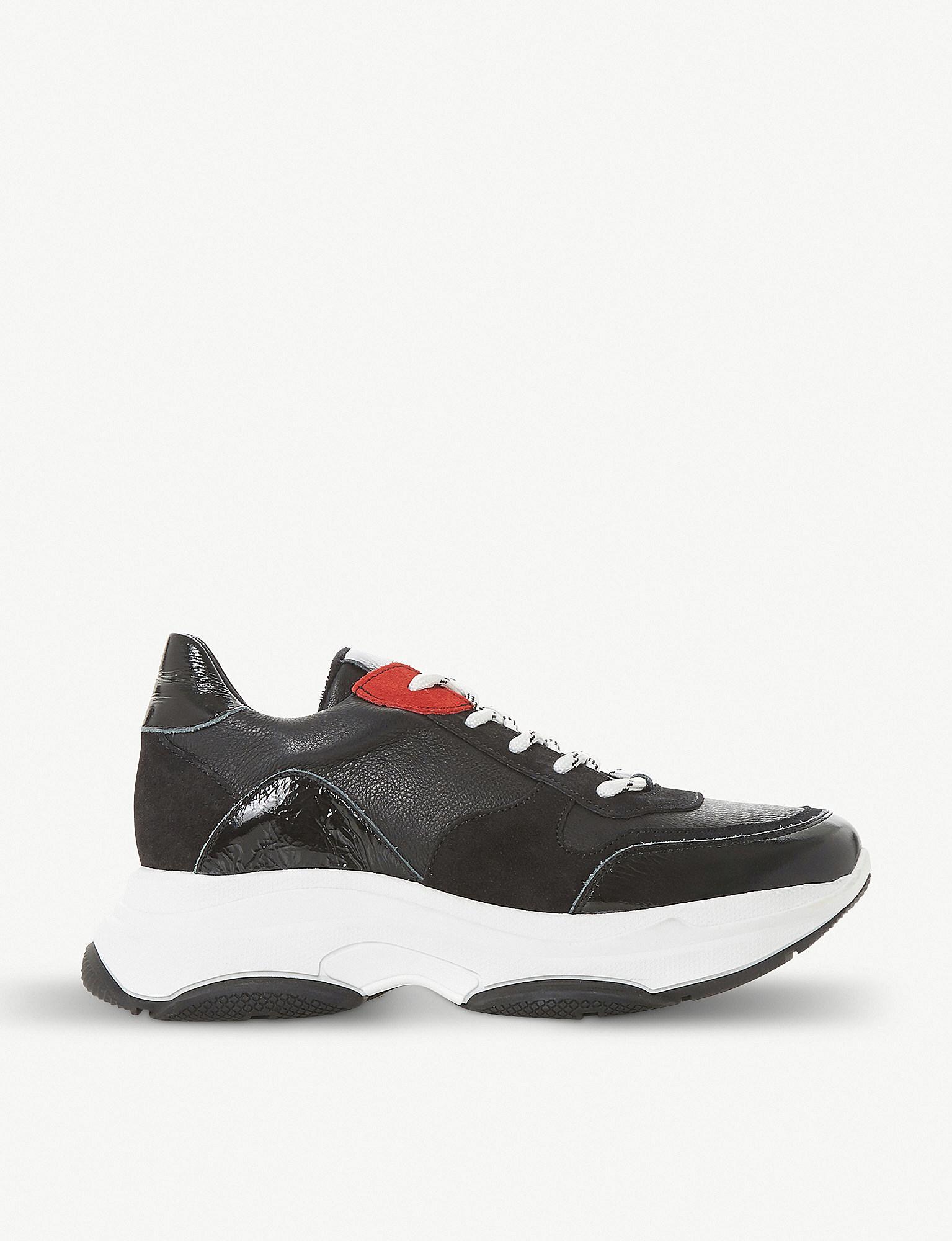abf5affaf59 Steve Madden Zela Leather Flatform Trainers in Black - Lyst