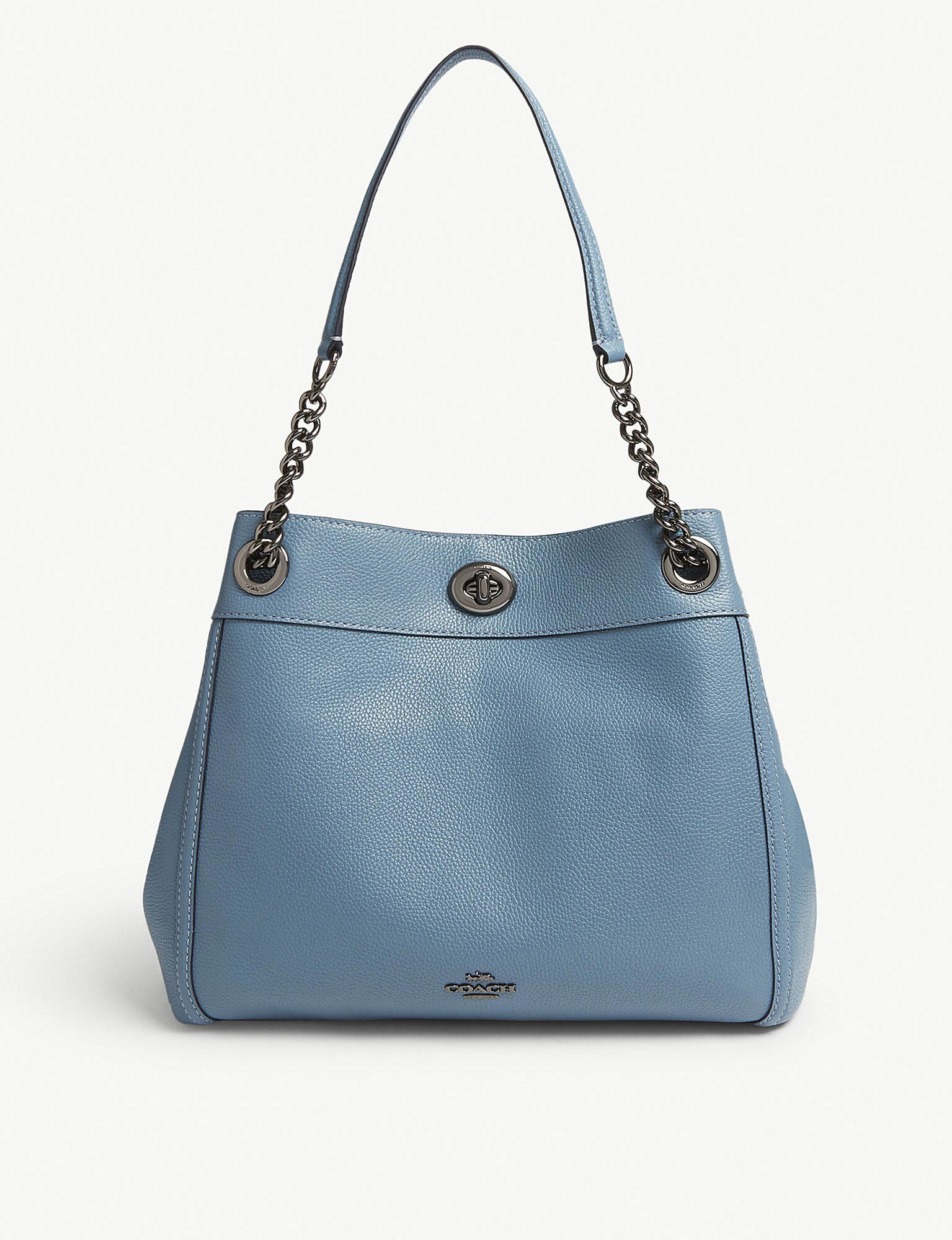 Denmark Coach Ladies Leather Bags Aac40 F5d86 Swagger Wristlet In Pebble Watermelon Shop Womens Dark Chambray Blue Edie Shoulder Bag 67d50 4e413