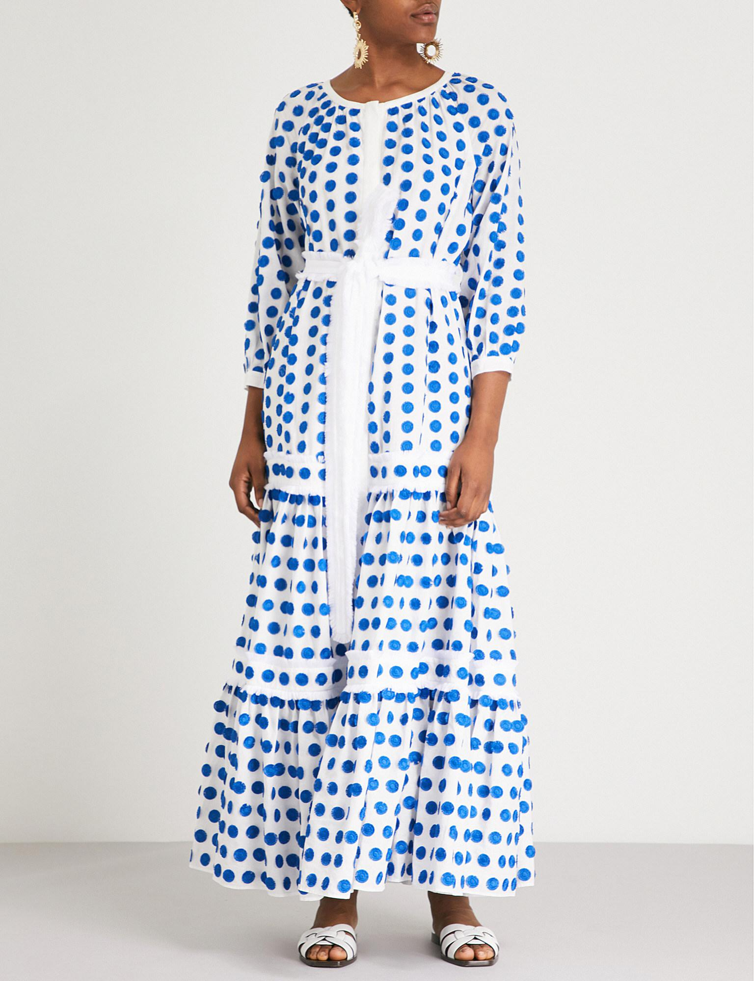 c0c11afc22d Alexis Gaiya Dot-print Maxi Dress in Blue - Lyst