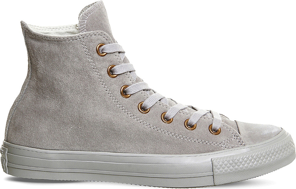 converse all star hi suede trainers in gray lyst. Black Bedroom Furniture Sets. Home Design Ideas