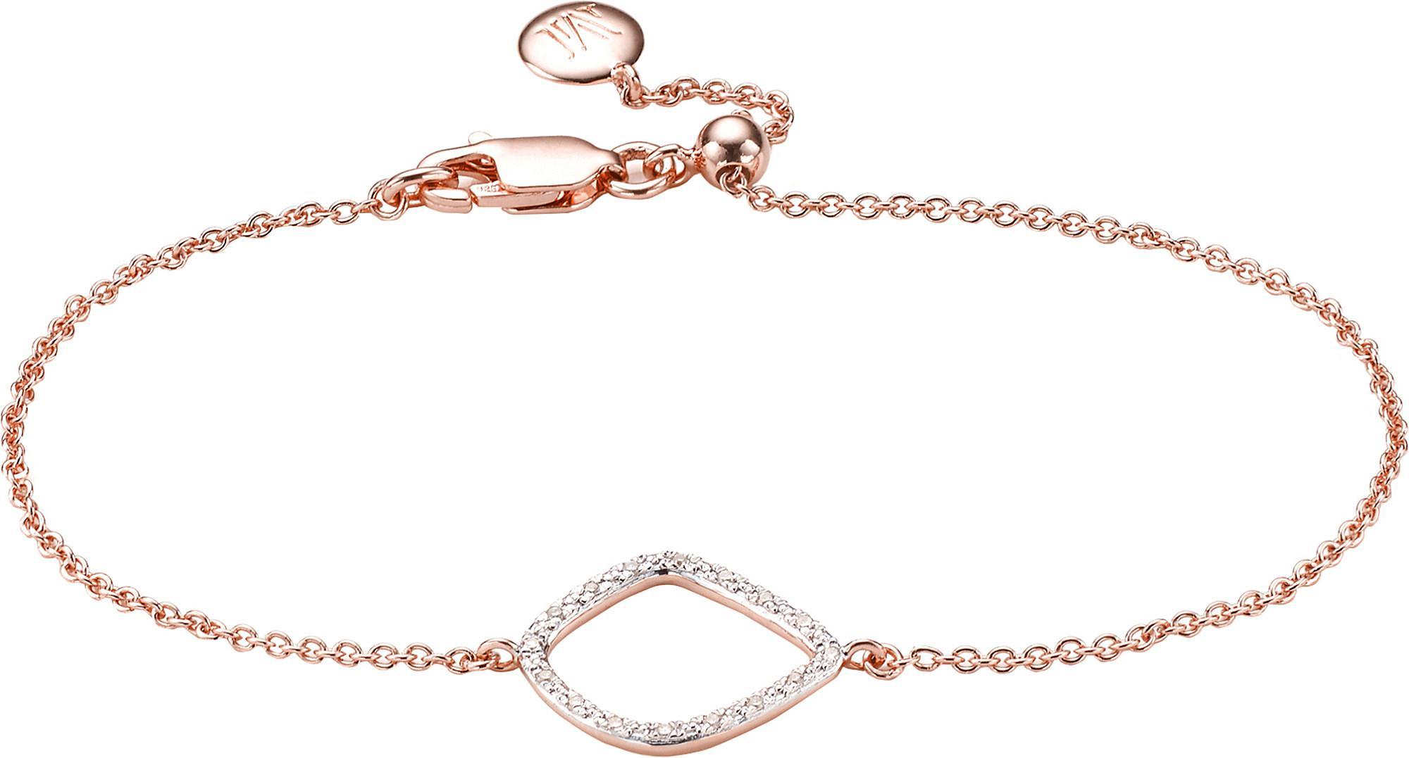 Sterling Silver Riva Diamond Kite Chain Bracelet Diamond Monica Vinader VRw0ZnCery