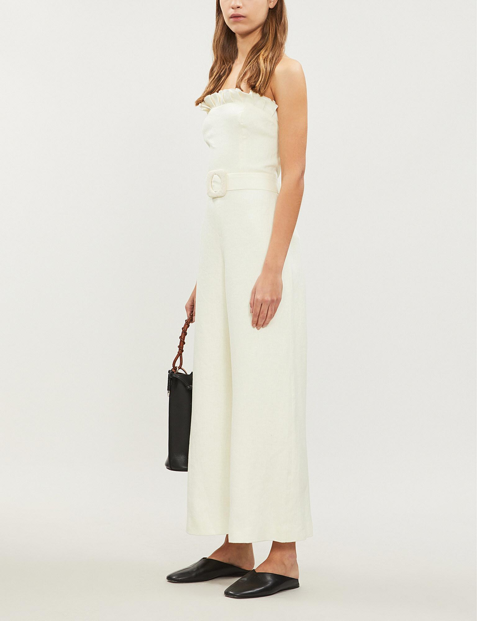 108c685b245 Lyst - Alexis Belted Linen Jumpsuit in White - Save 4%